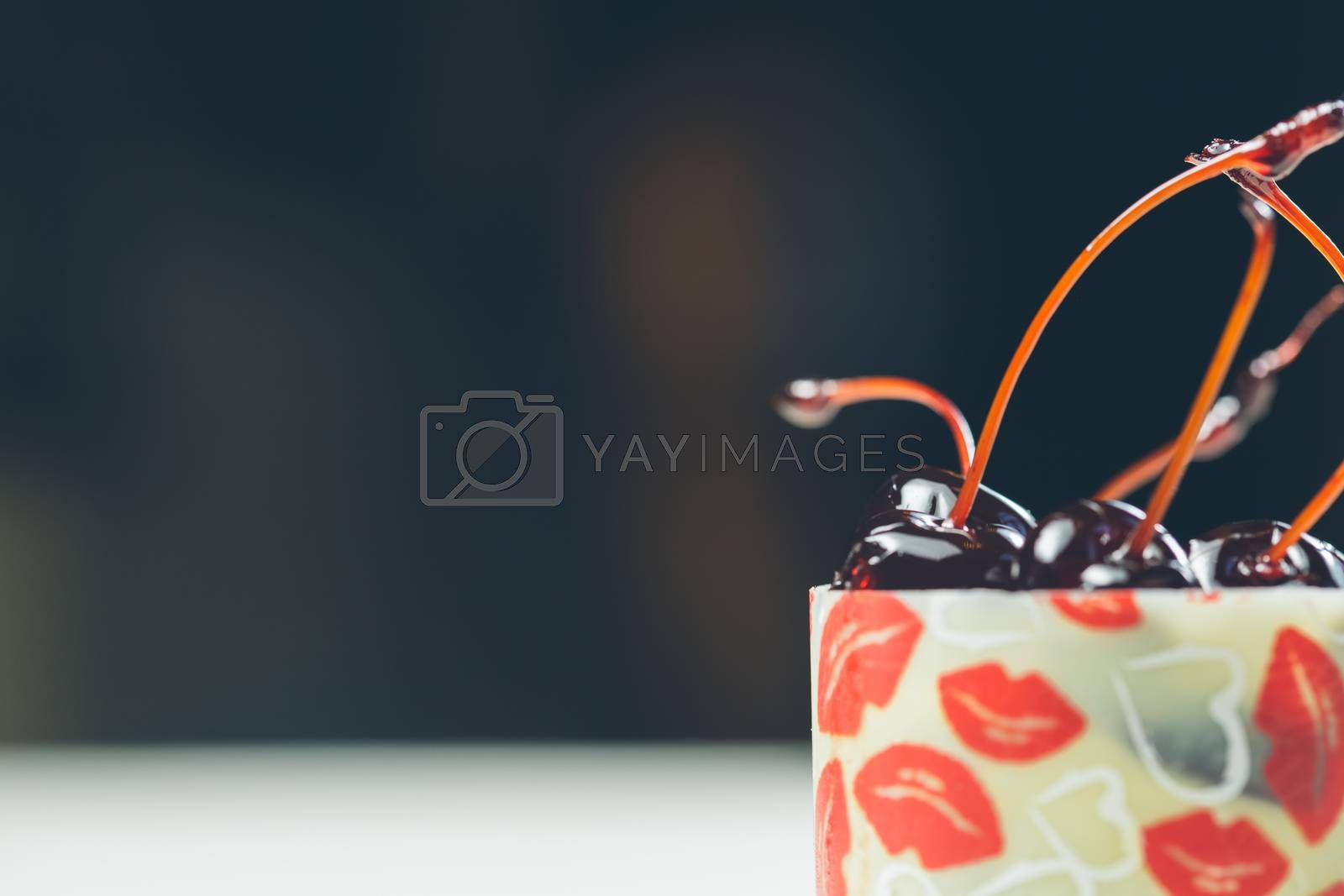 Royalty free image of vanilla dessert with cherry confiture by sarymsakov