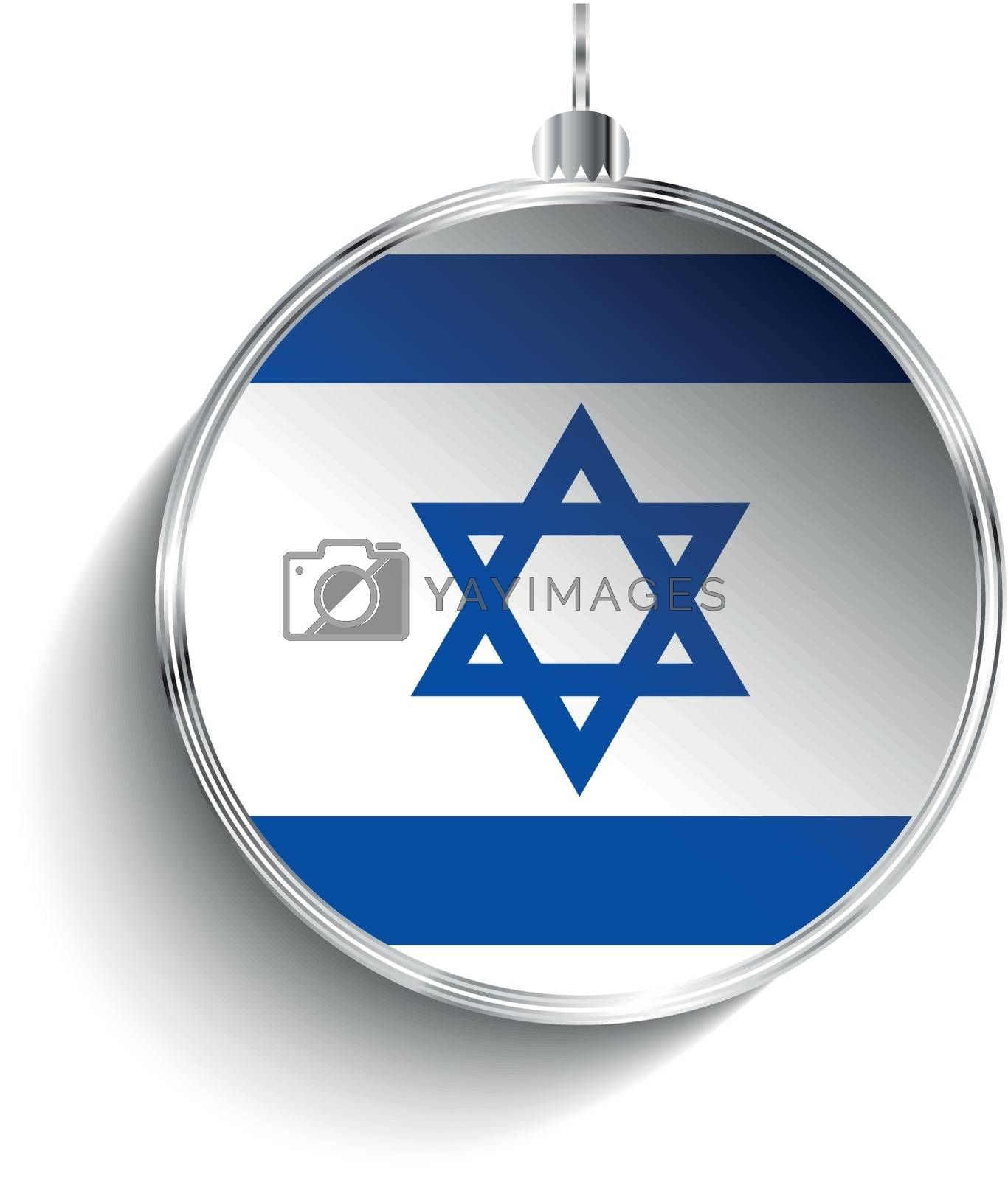 Merry Christmas Silver Ball with Flag Israel by gubh83