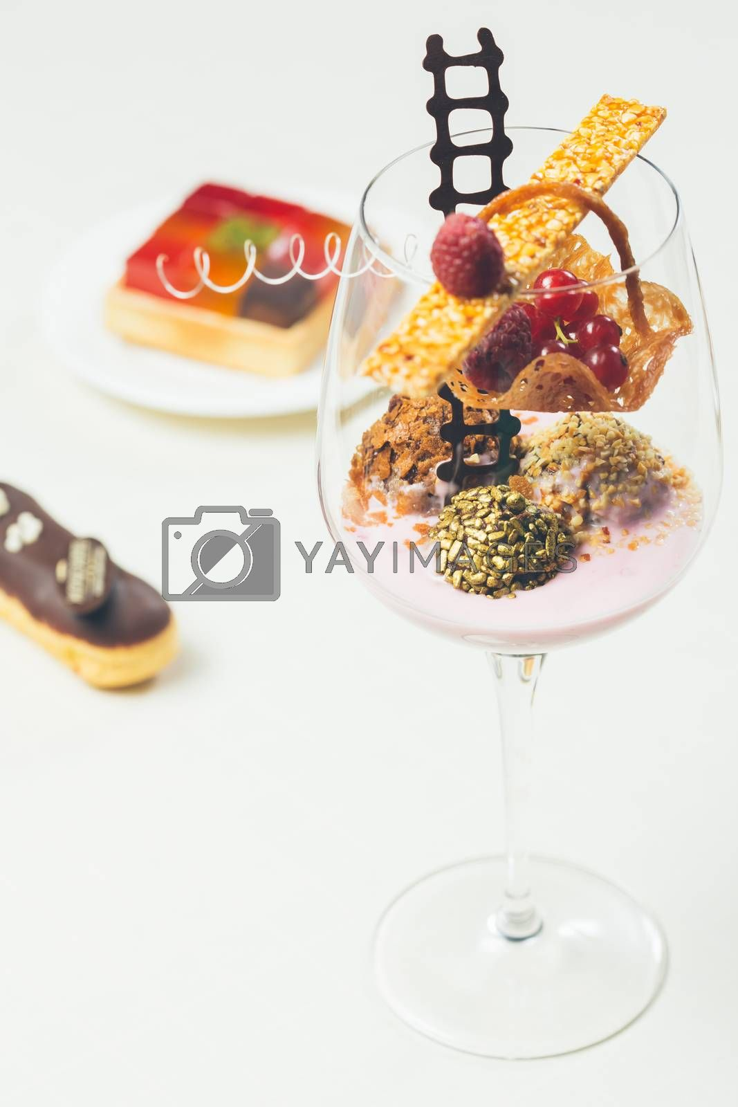 Royalty free image of Close up of chocolate truffles in elegant glasses by sarymsakov