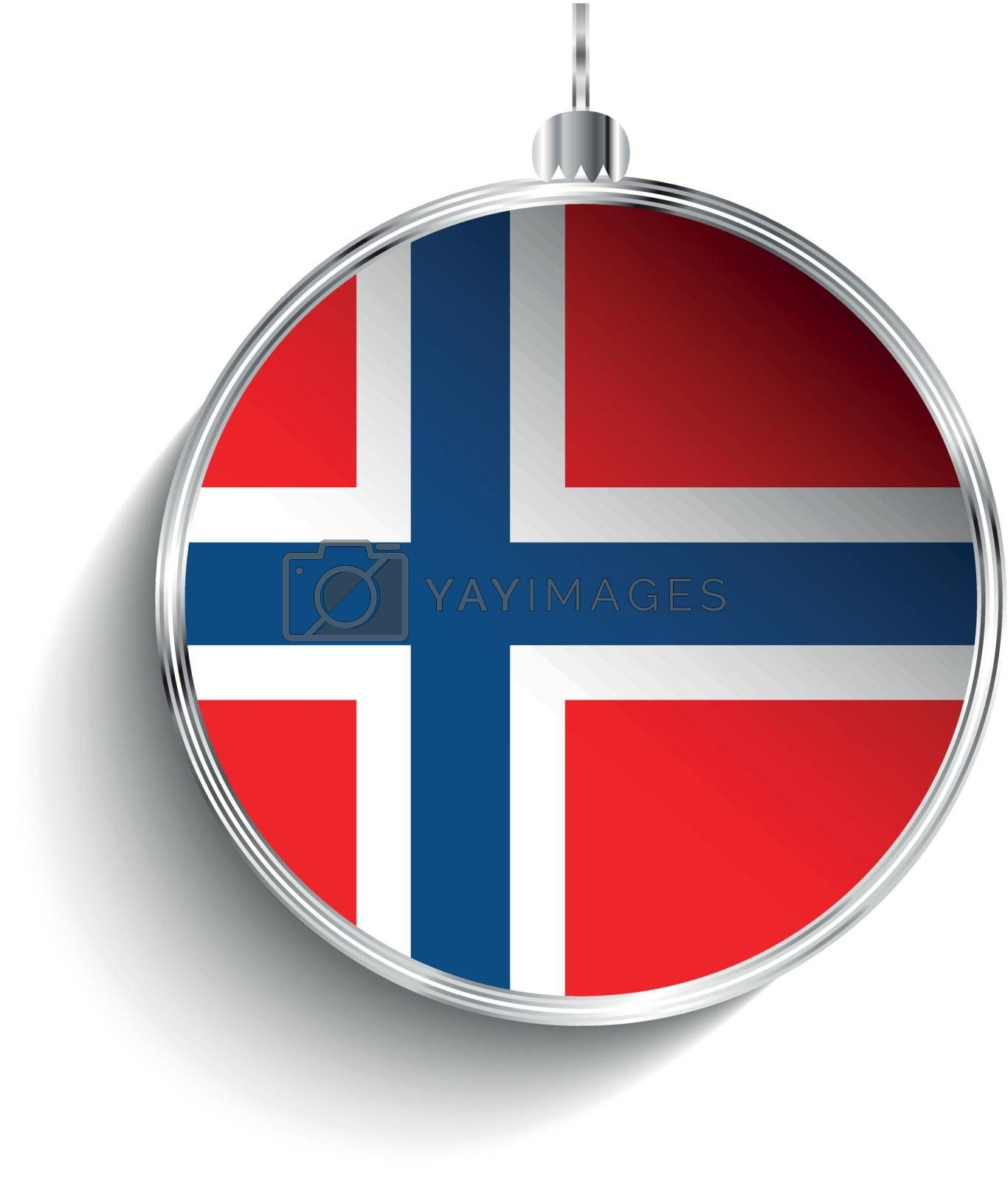 Merry Christmas Silver Ball with Flag Norway by gubh83