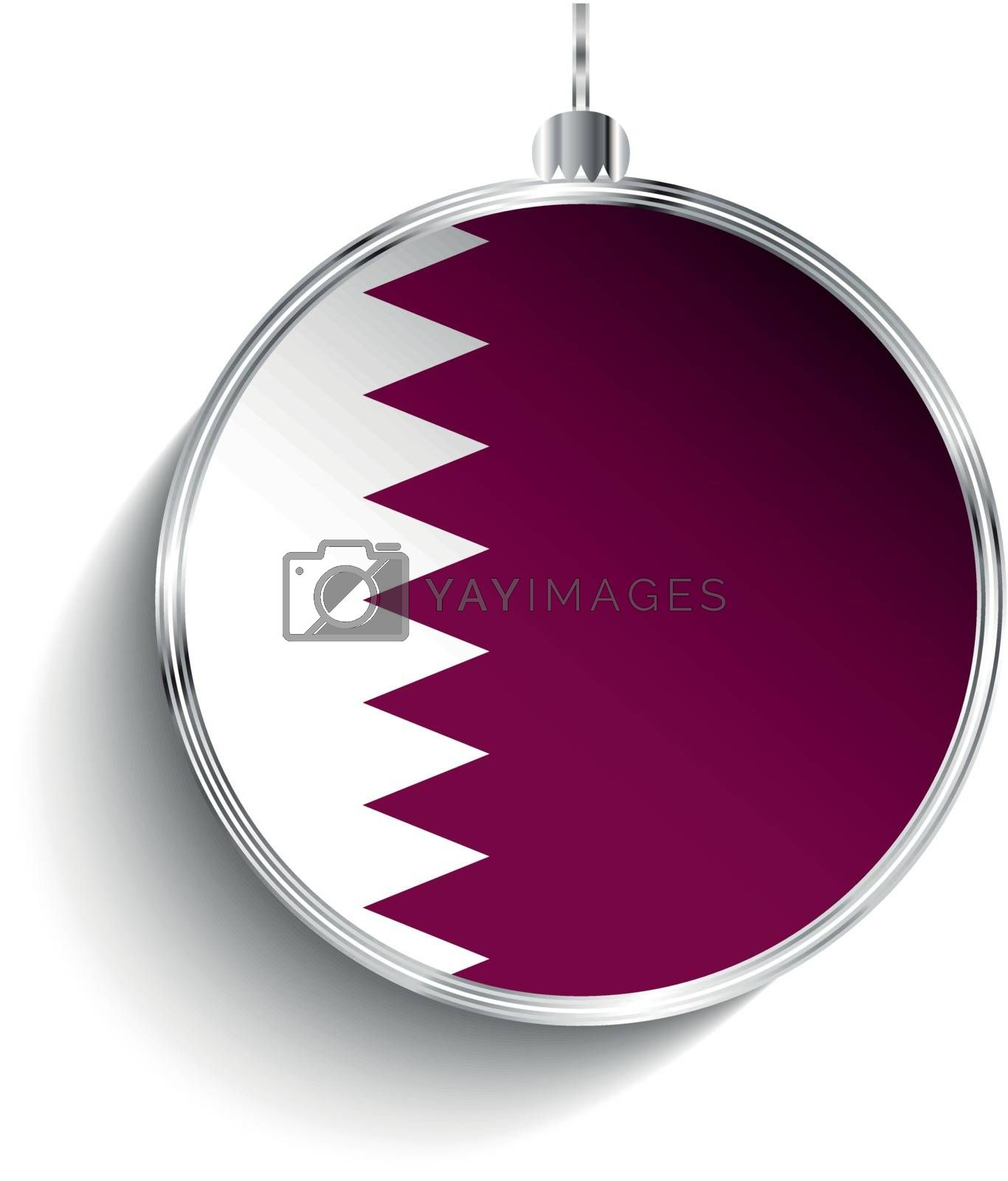 Merry Christmas Silver Ball with Flag Qatar by gubh83
