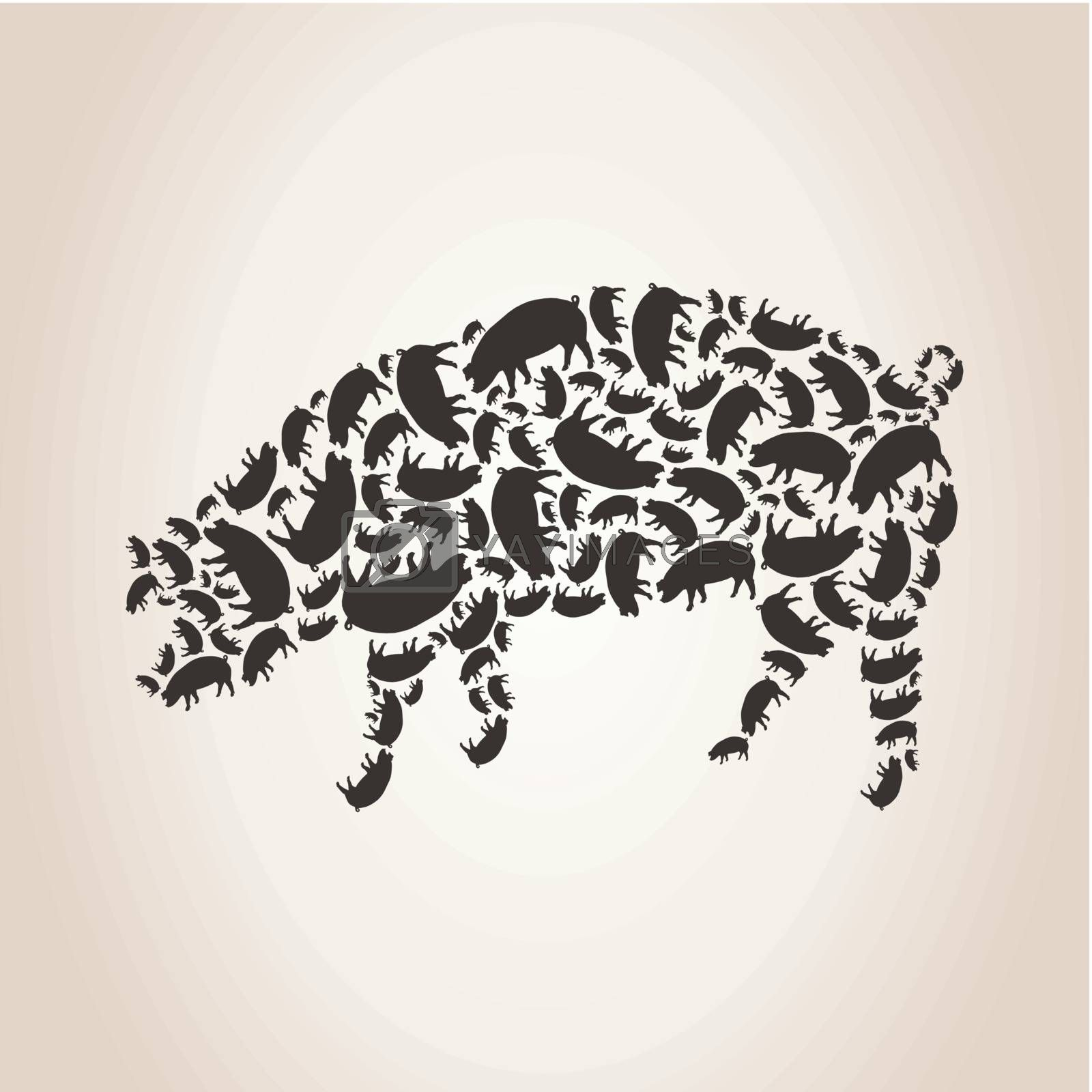 Pig made of pigs. A vector illustration