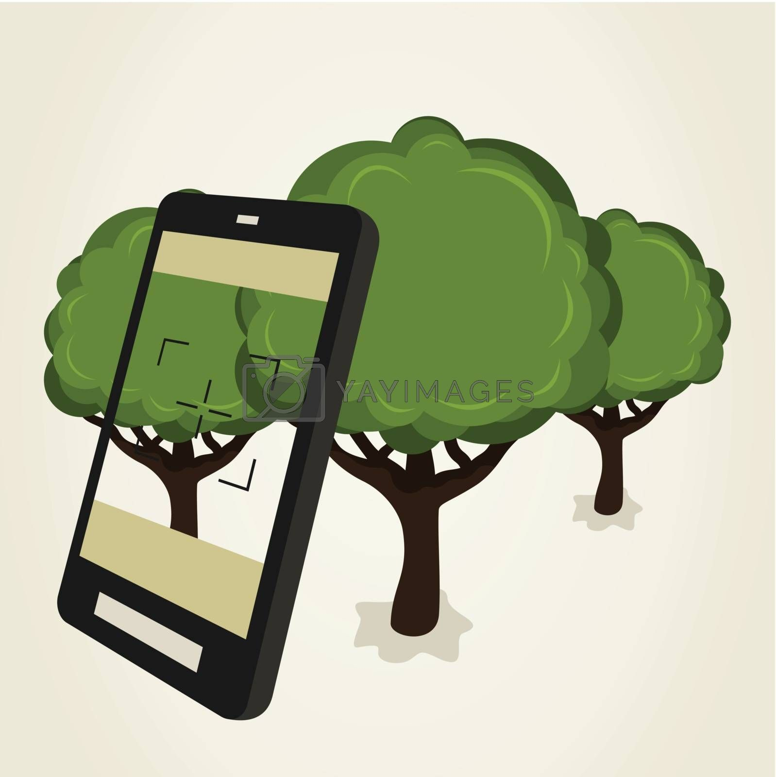 Shooting on wood phone. A vector illustration