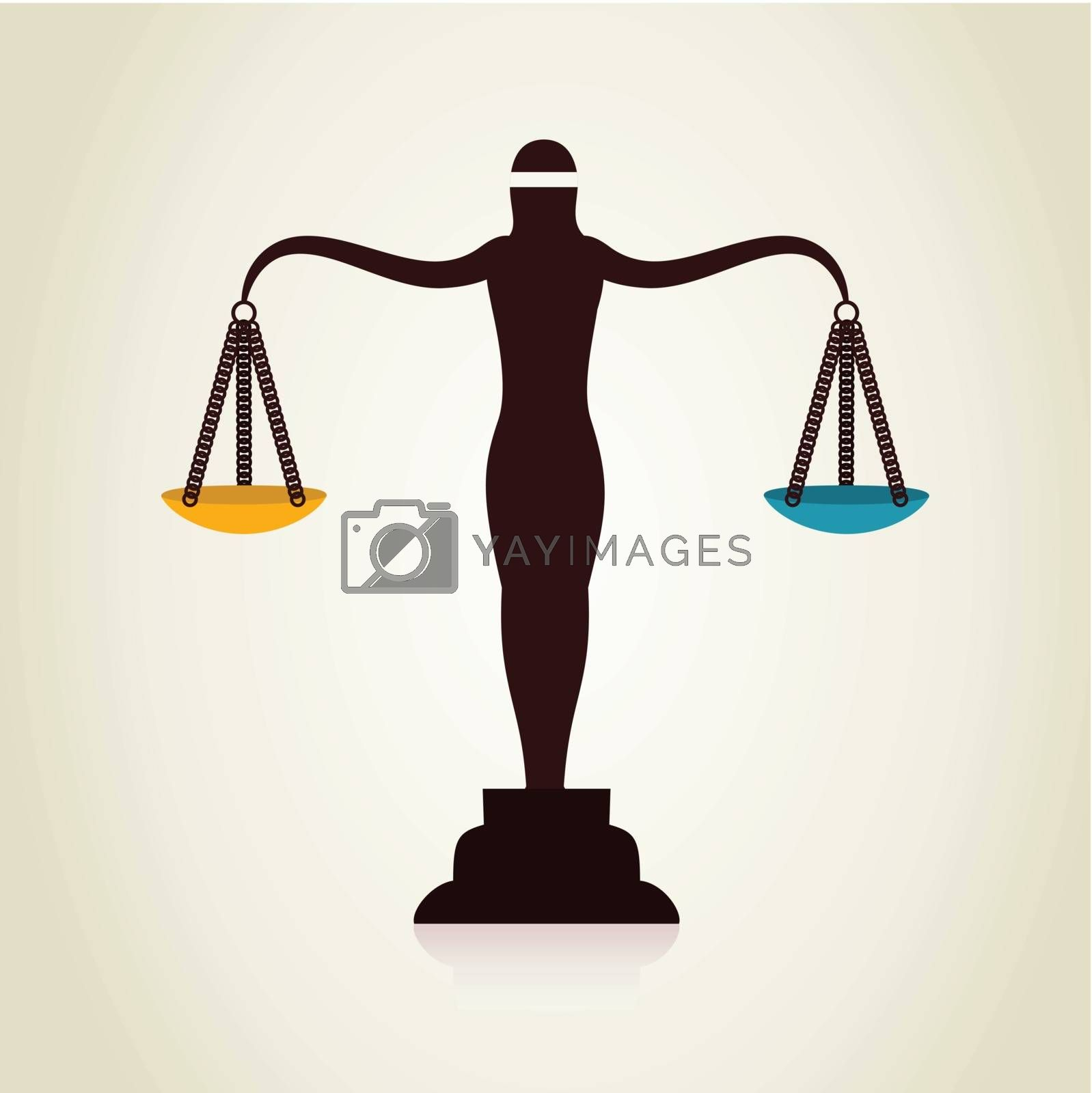 The woman scales blindfold. A vector illustration