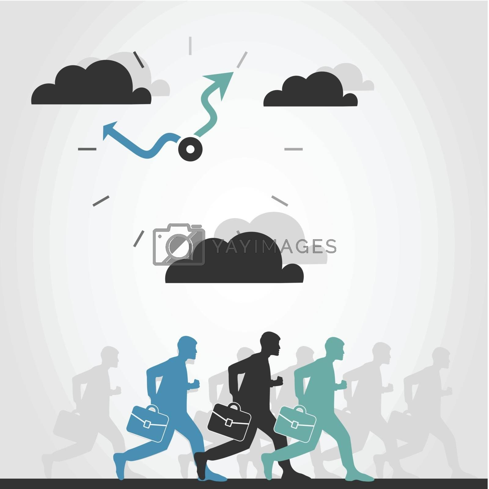 The person is late in office. A vector illustration