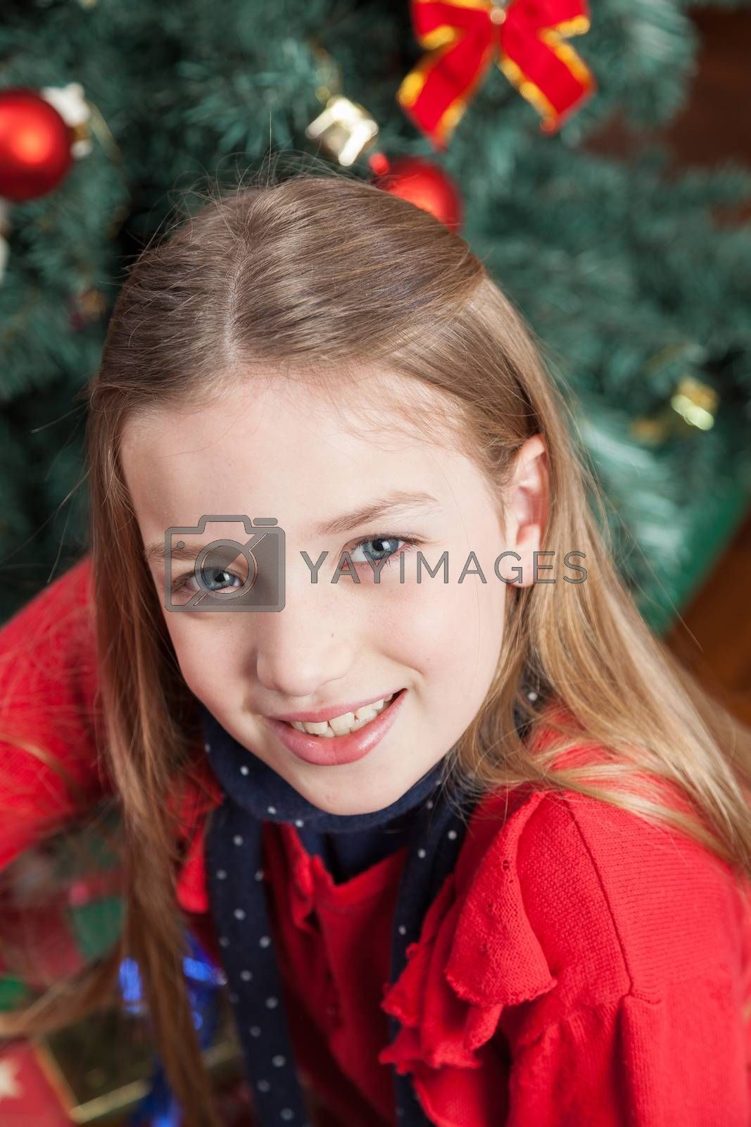 Pretty girl sitting beside the christmas tree by ifilms
