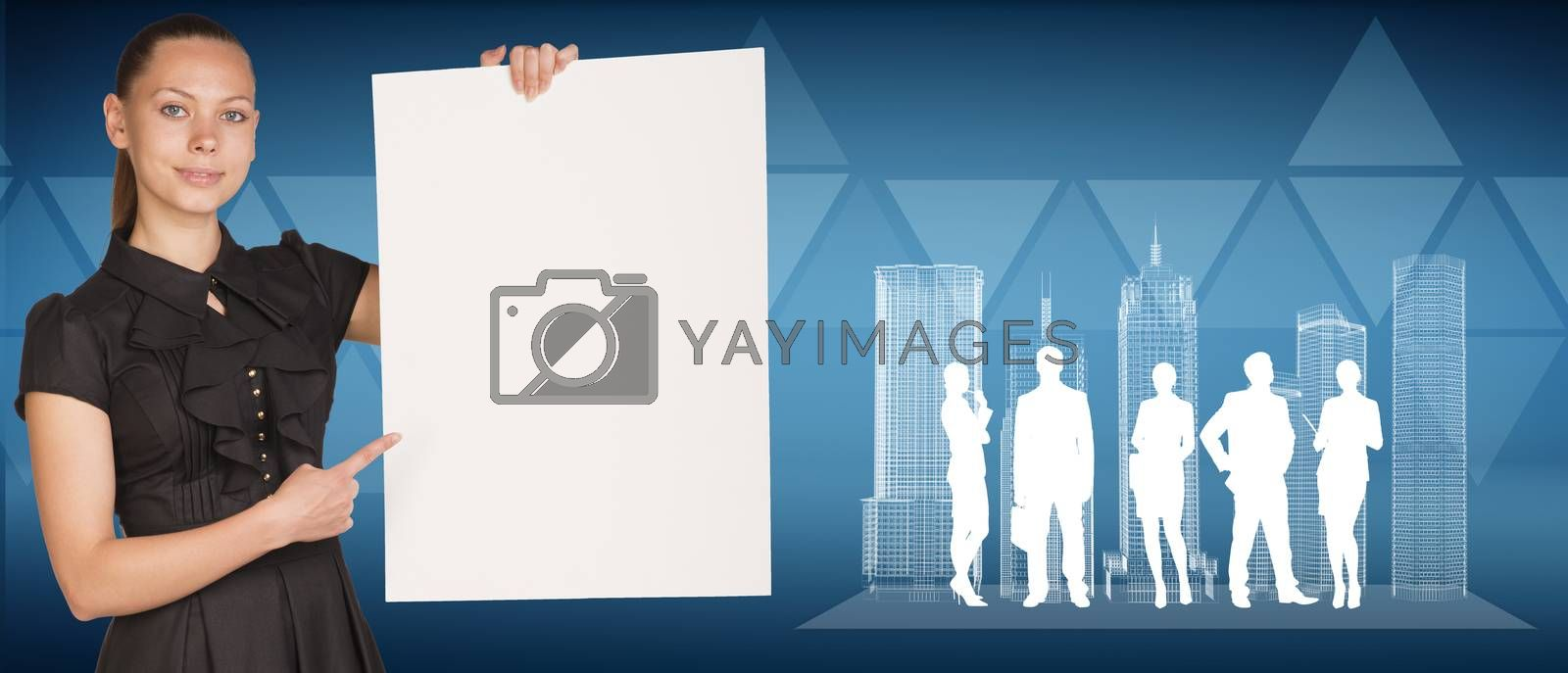 Beautiful businesswoman holding empty paper sheet, spatial layouts of buildings and silhouettes of people. Triangles as backdrop