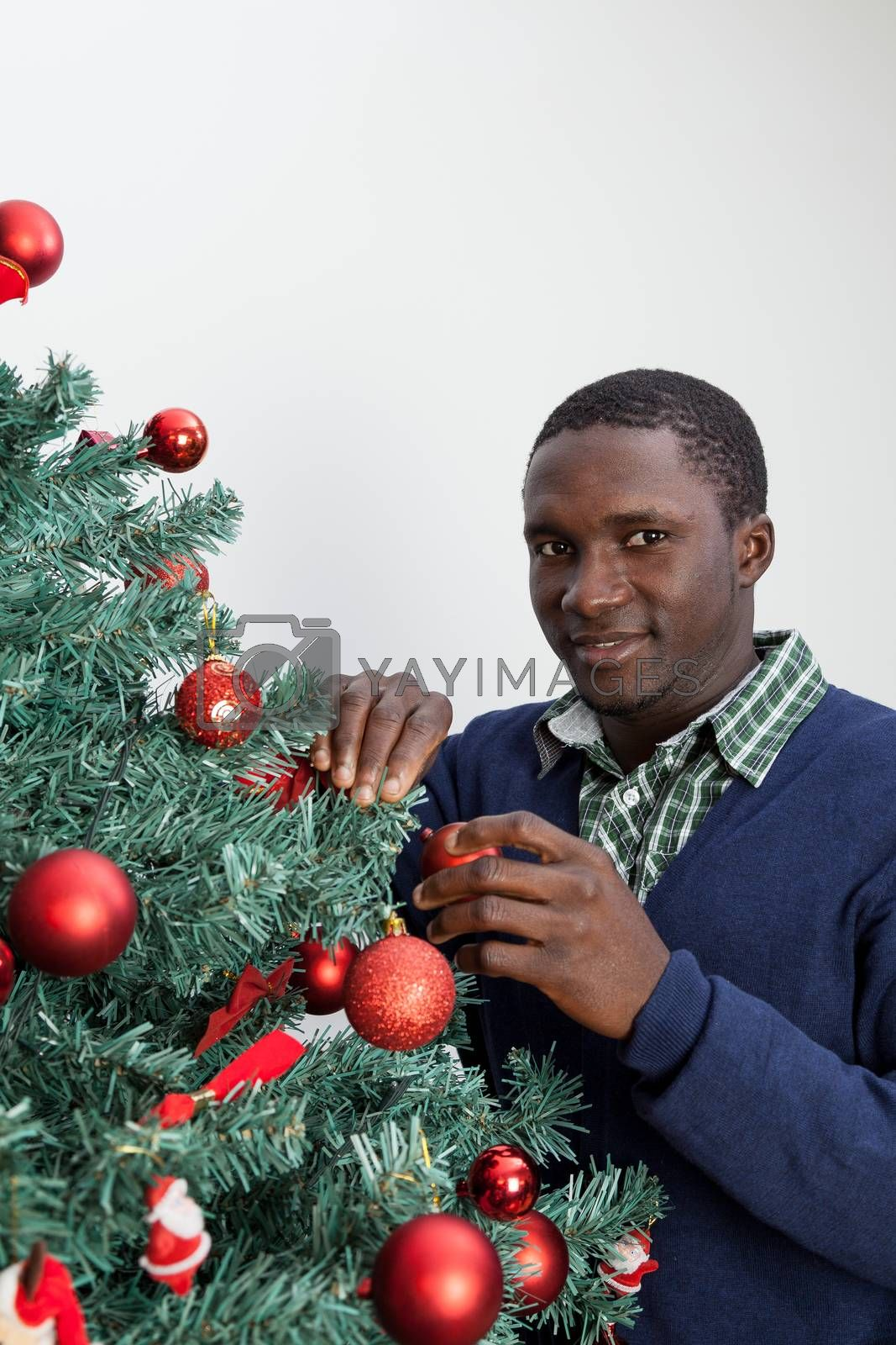 Man decorating the Christmas tree and looking at camera by ifilms