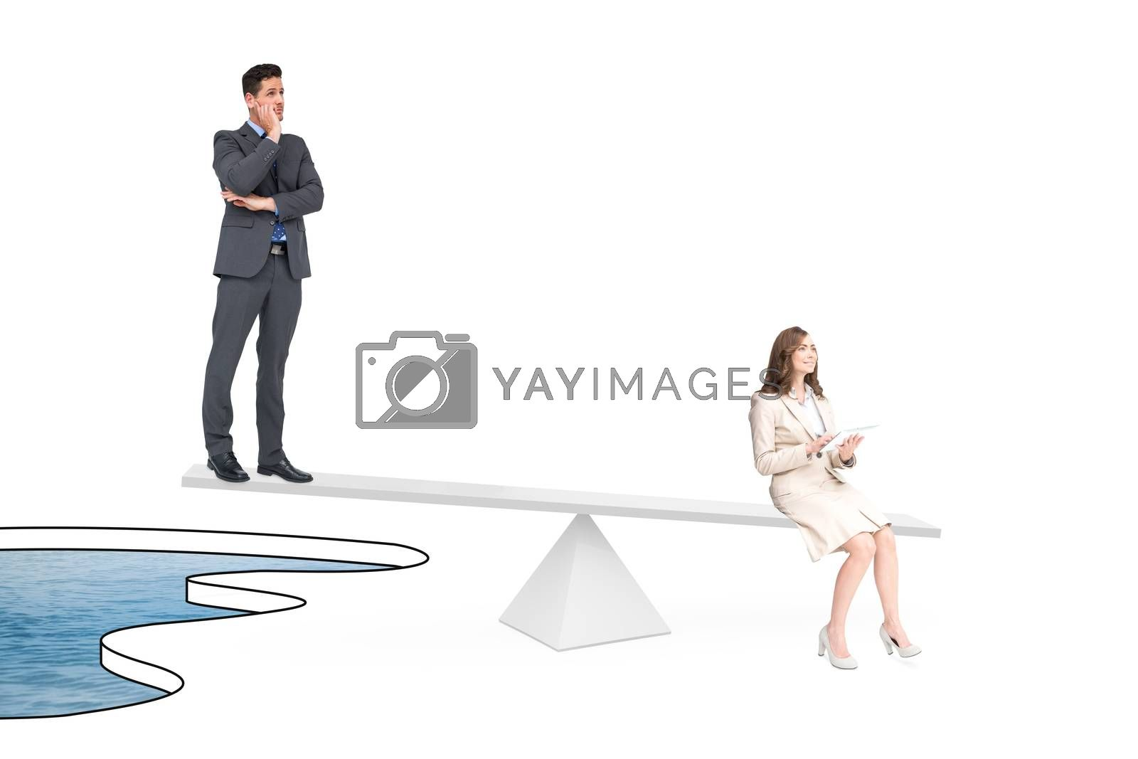 White scales measuring business people over pool of water
