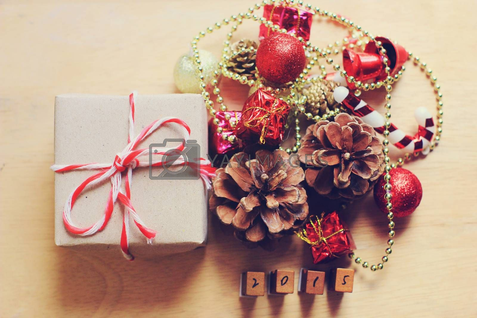 Gift box and christmas ornament with retro filter effect