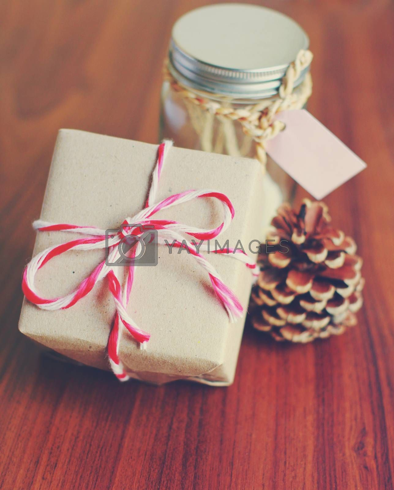 Handmade gift box and jar for present with retro filter effect