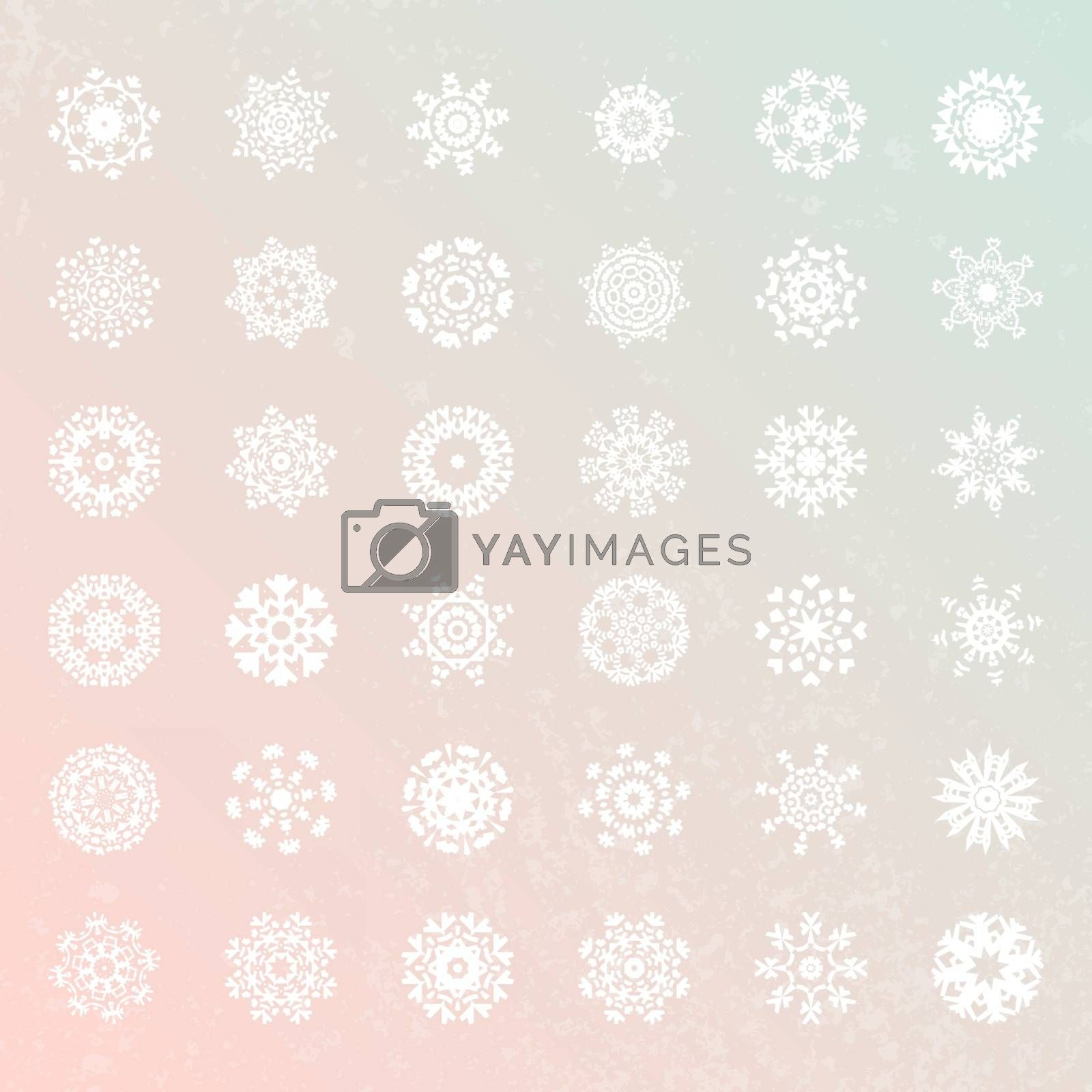 Snowflake vector collection. Unique winter decoration elements in flat style. Christmas and New Year symbols. Geometric circle shapes.