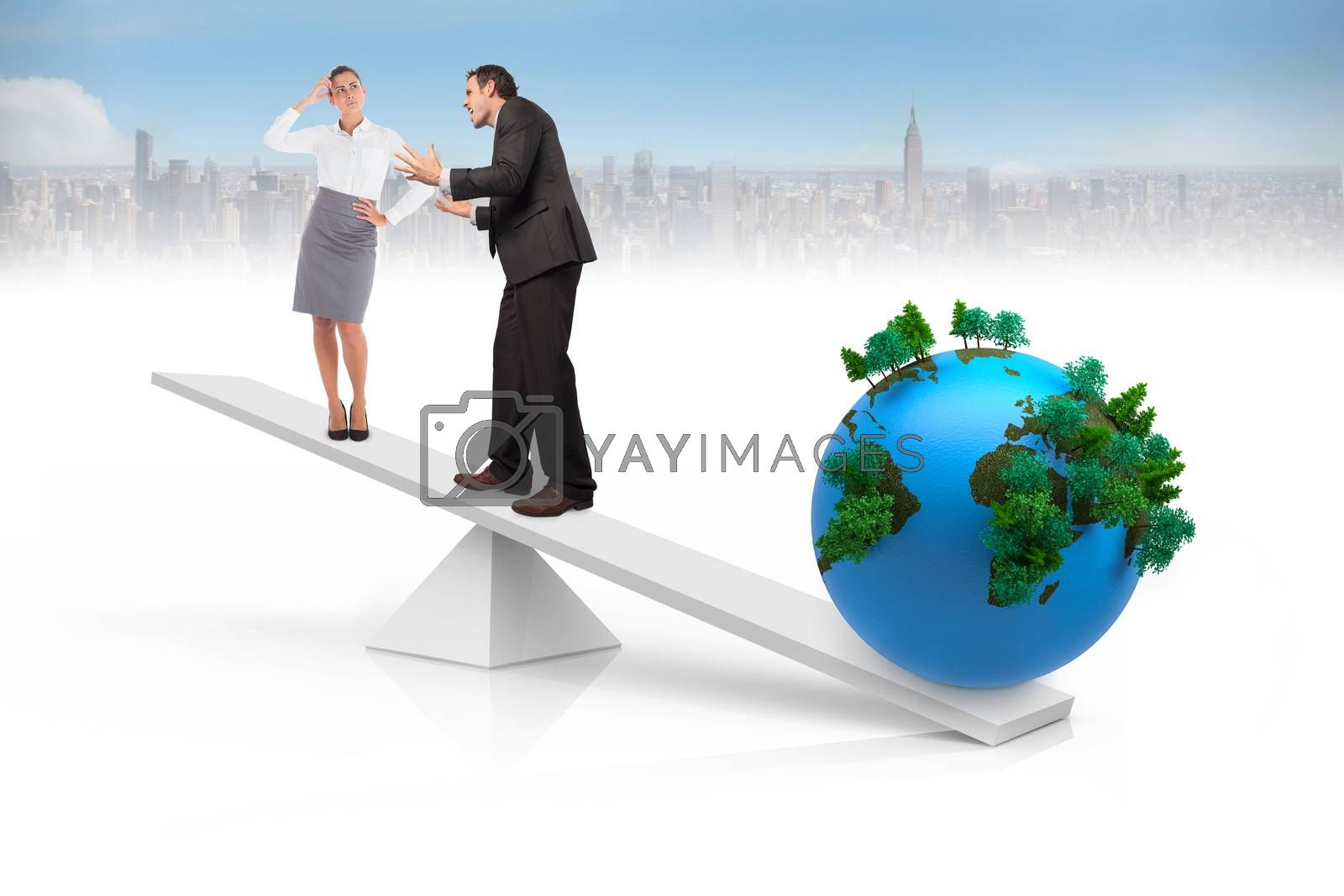 White scales weighing business people and earth with cityscape in background