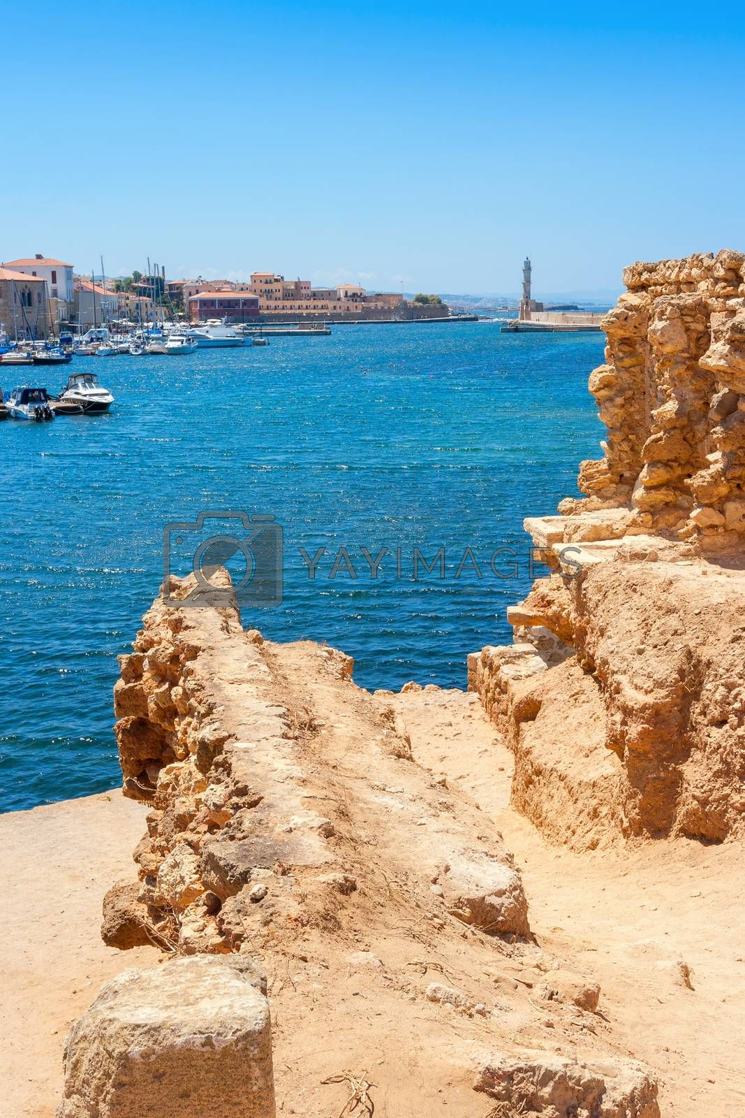 View of Chania harbour from old walls. Crete, Greece, Europe