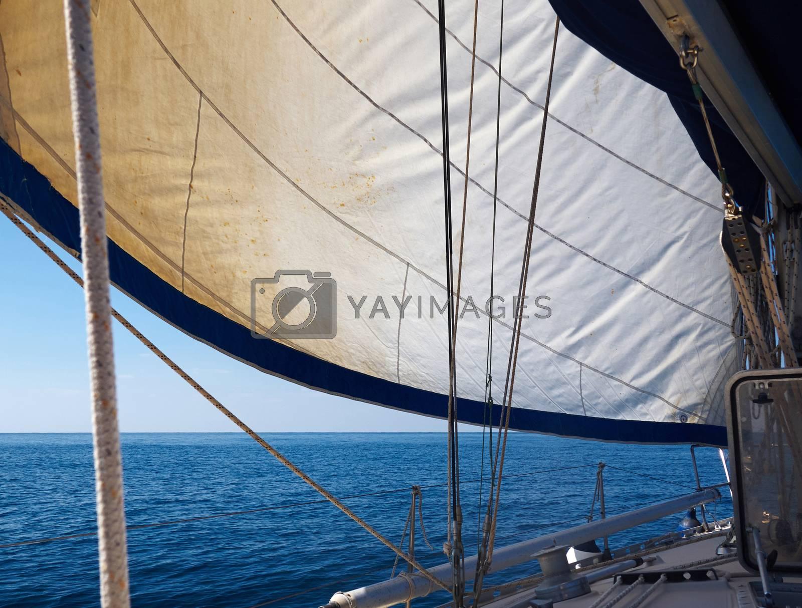 Yacht sailboat sailing Sailboat in the blue ocean great yachting vacation