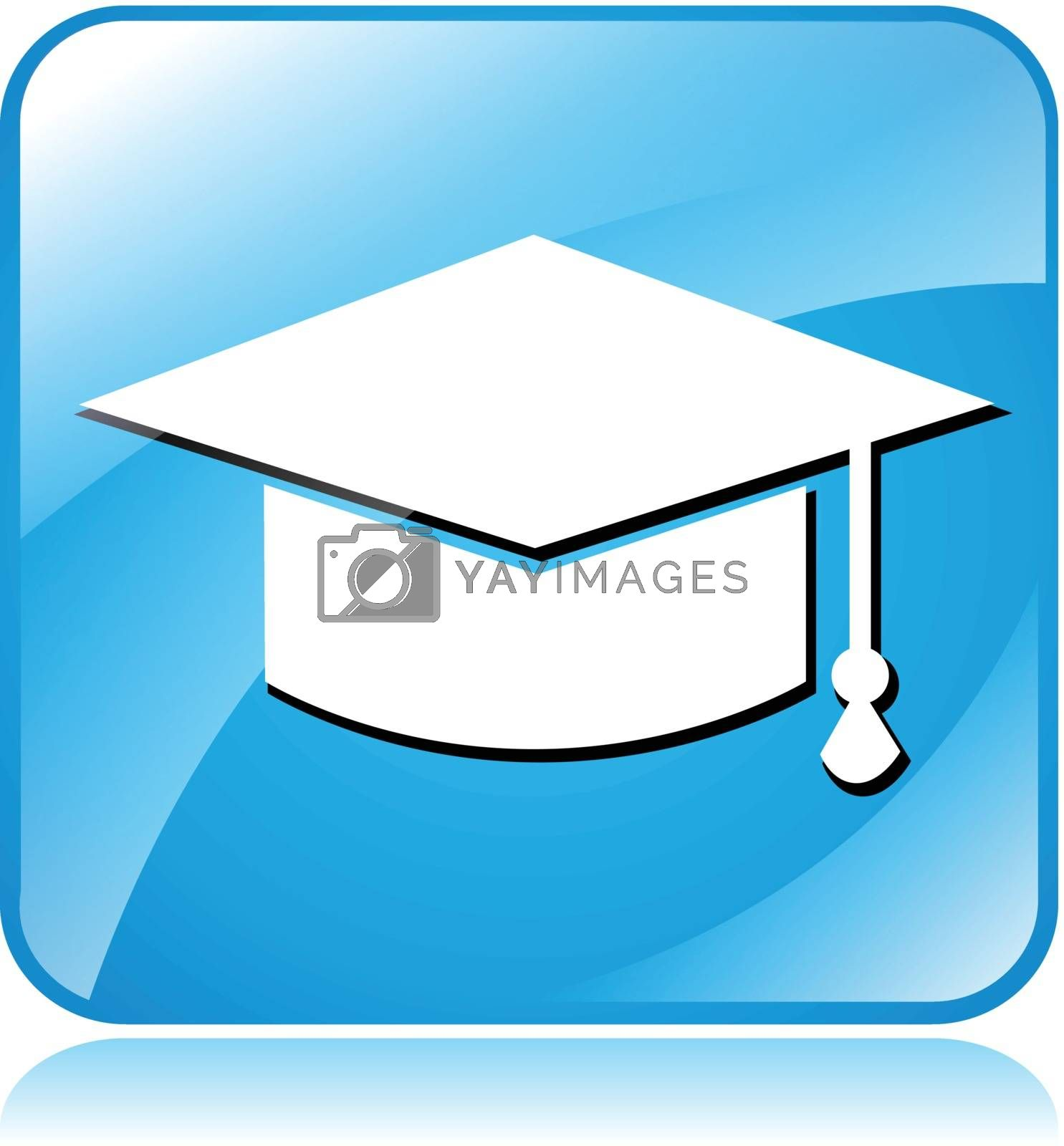 illustration of blue square icon for education