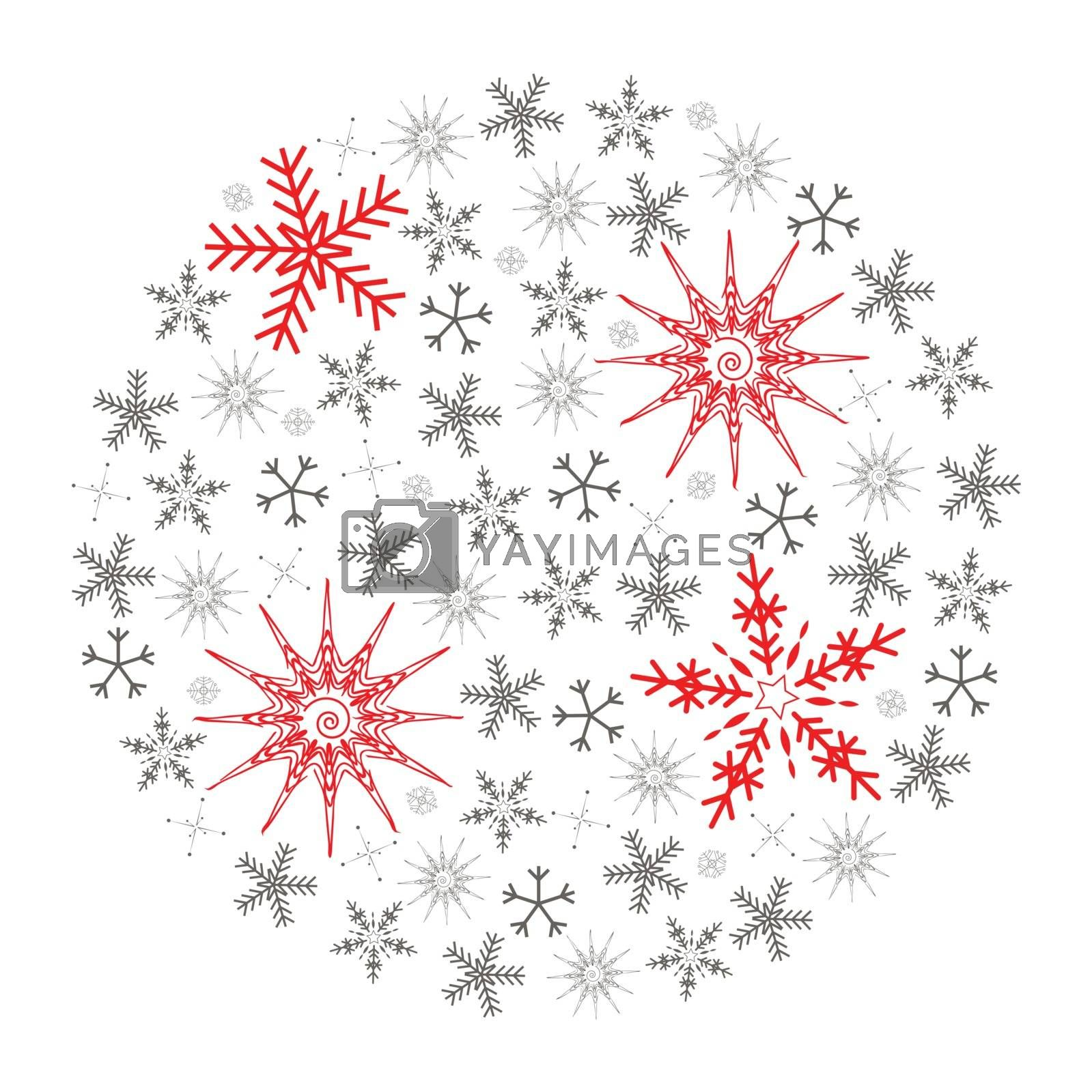 Illustration of Christmas snowflake isolated on white background. Full of small gray and four big red snowflakes