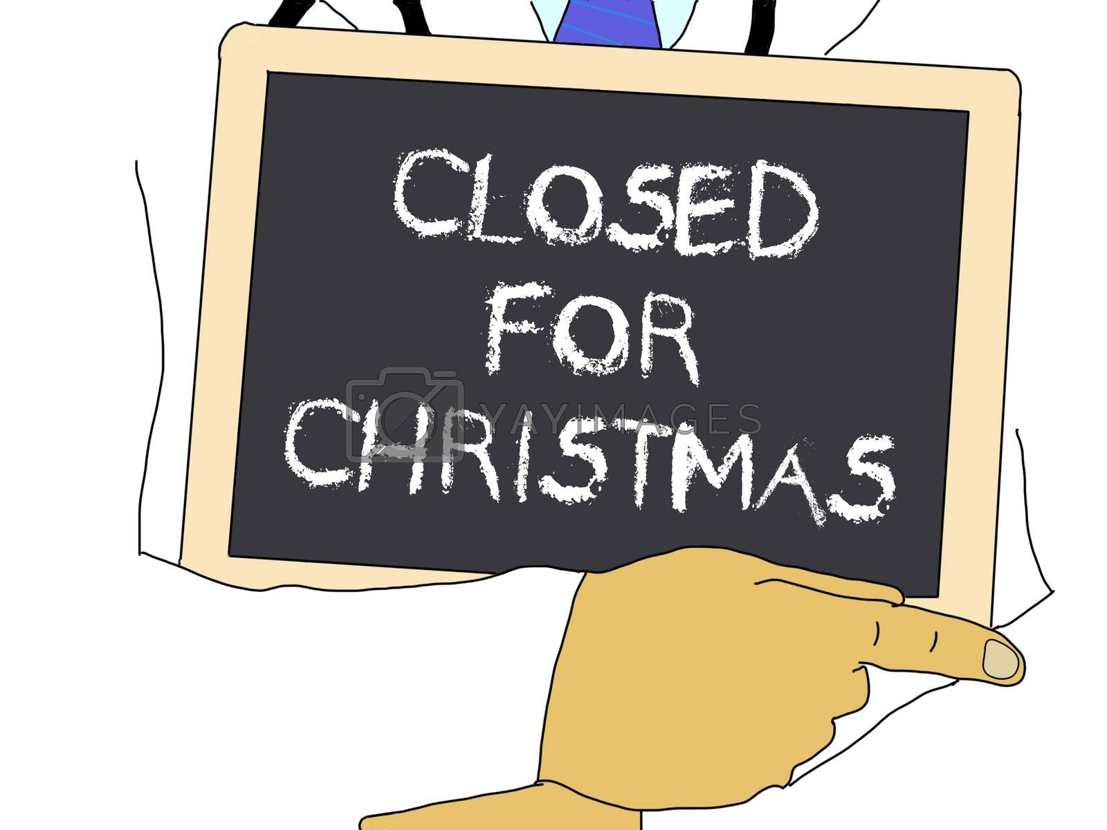 Illustration: Doctor shows information: Closed for Christmas