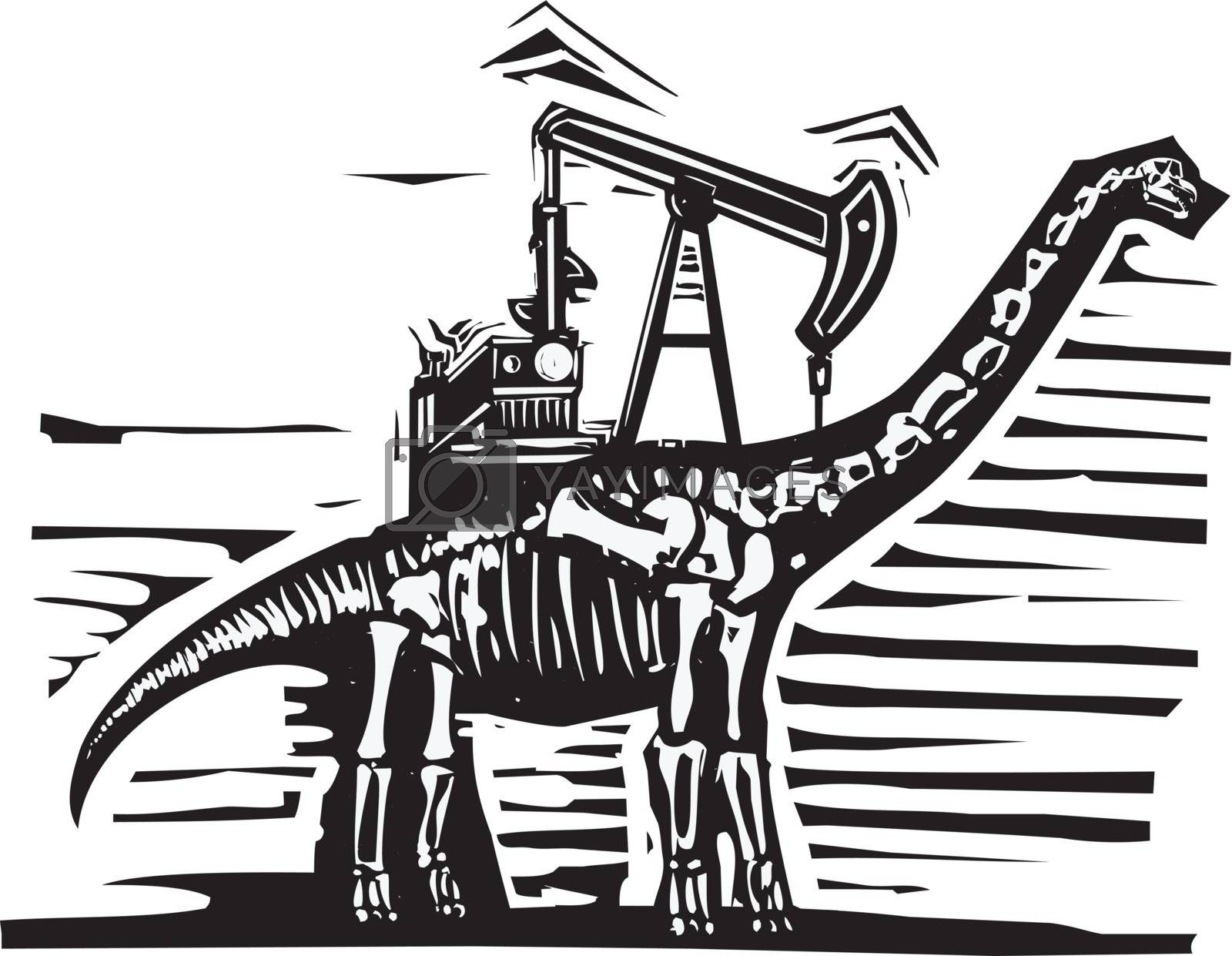 Woodcut style image of a fossil of a brontosaurus apatosaurus dinosaur with an oil well Pump Jack on its back.