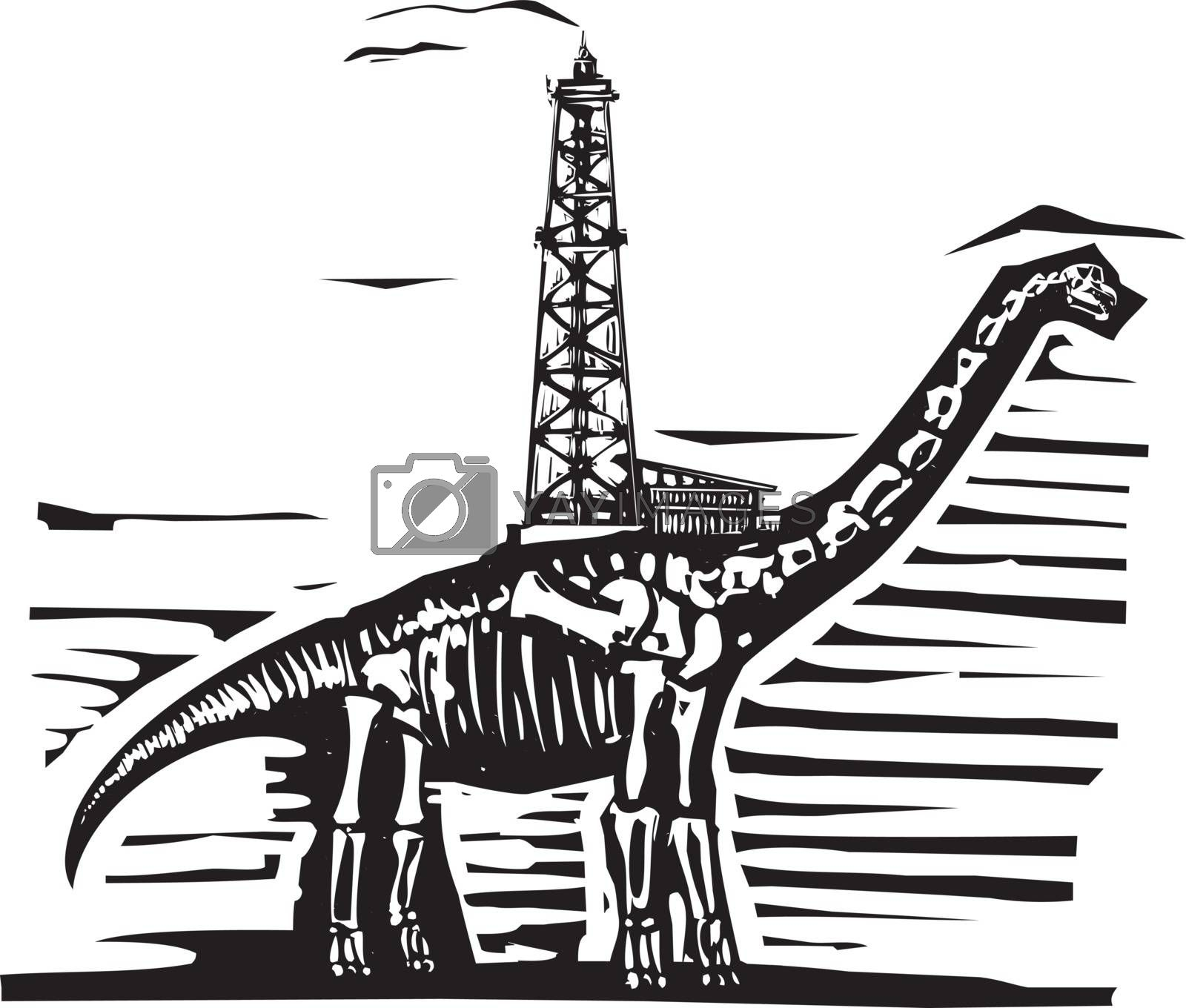 Woodcut style image of a fossil of a brontosaurus apatosaurus dinosaur with an oil well on its back.