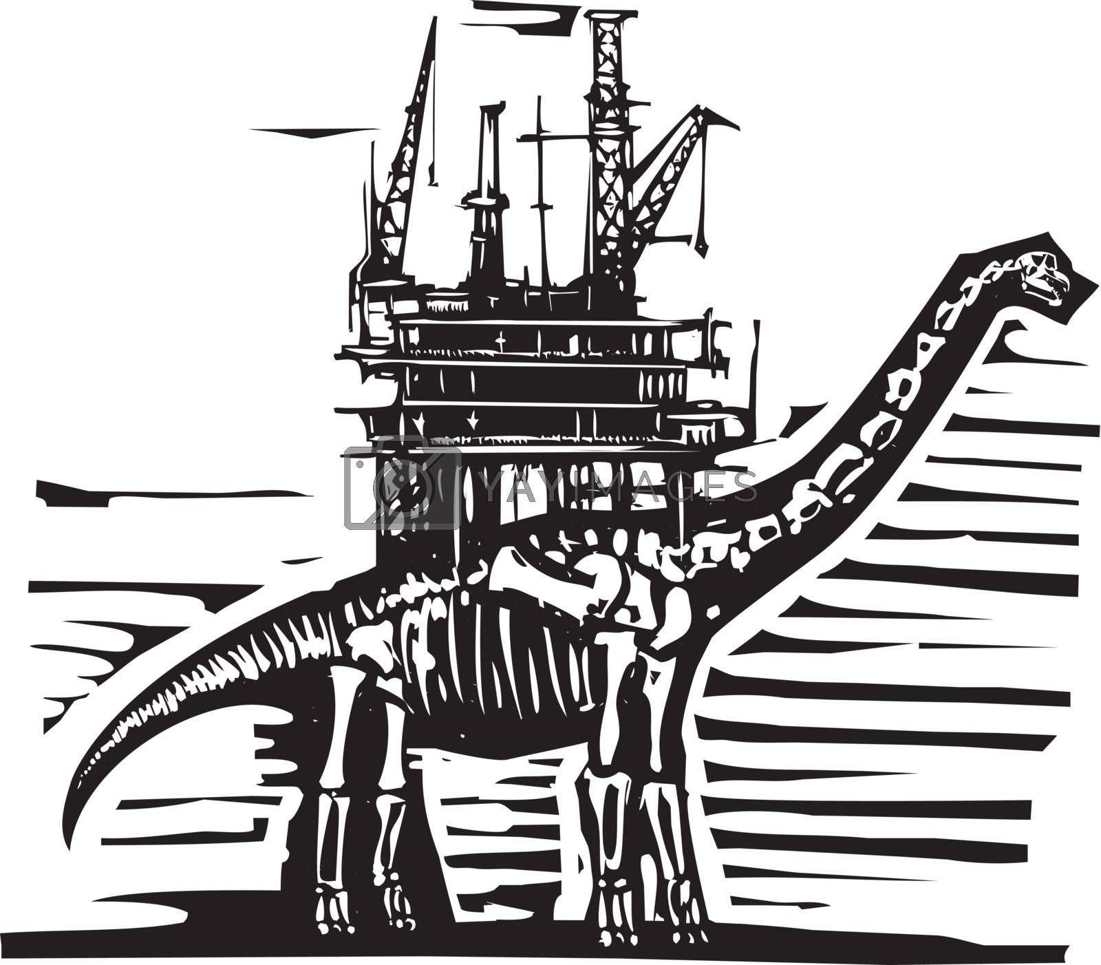 Woodcut style image of a fossil of a brontosaurus apatosaurus dinosaur with an oil rig on its back.