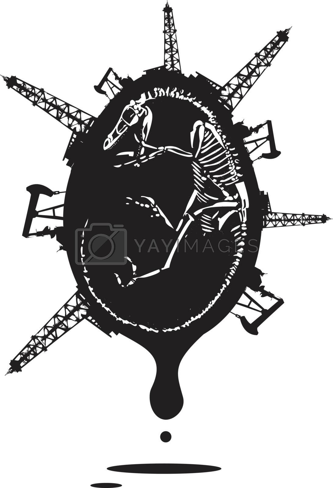 Woodcut style image of a fossil of a dinosaur skeleton with and oil rigs.