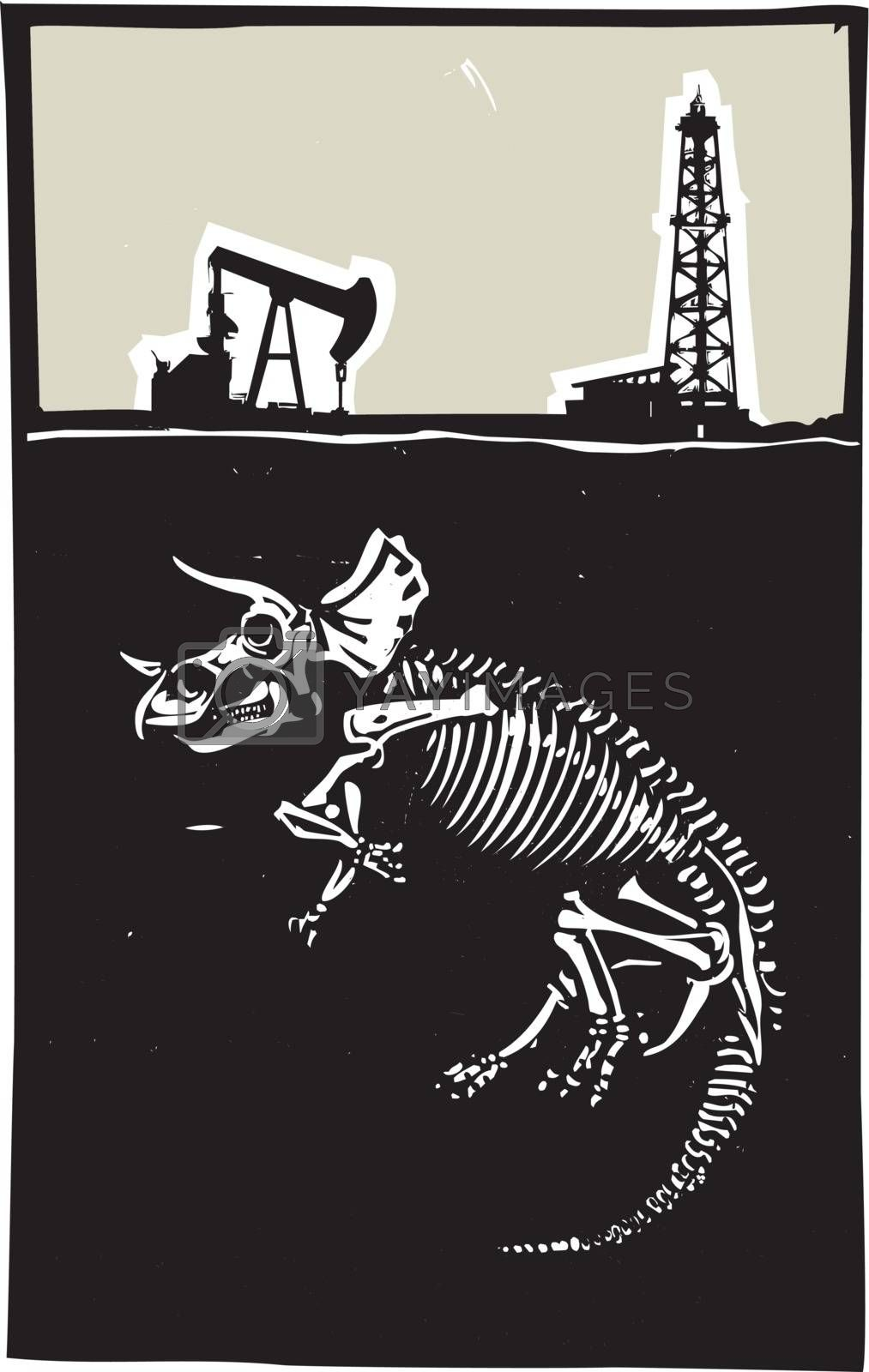Woodcut style image of a fossil of a Triceratops dinosaur with an oil rig and pump jack.