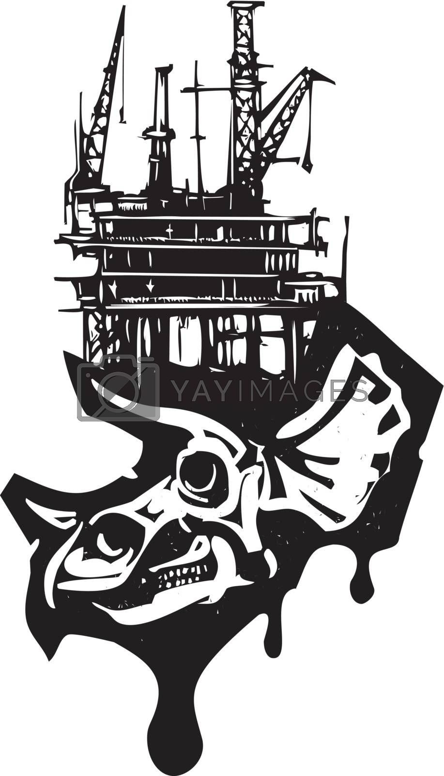 Woodcut style image of a fossil of a Triceratops dinosaur skull with an oil rig.