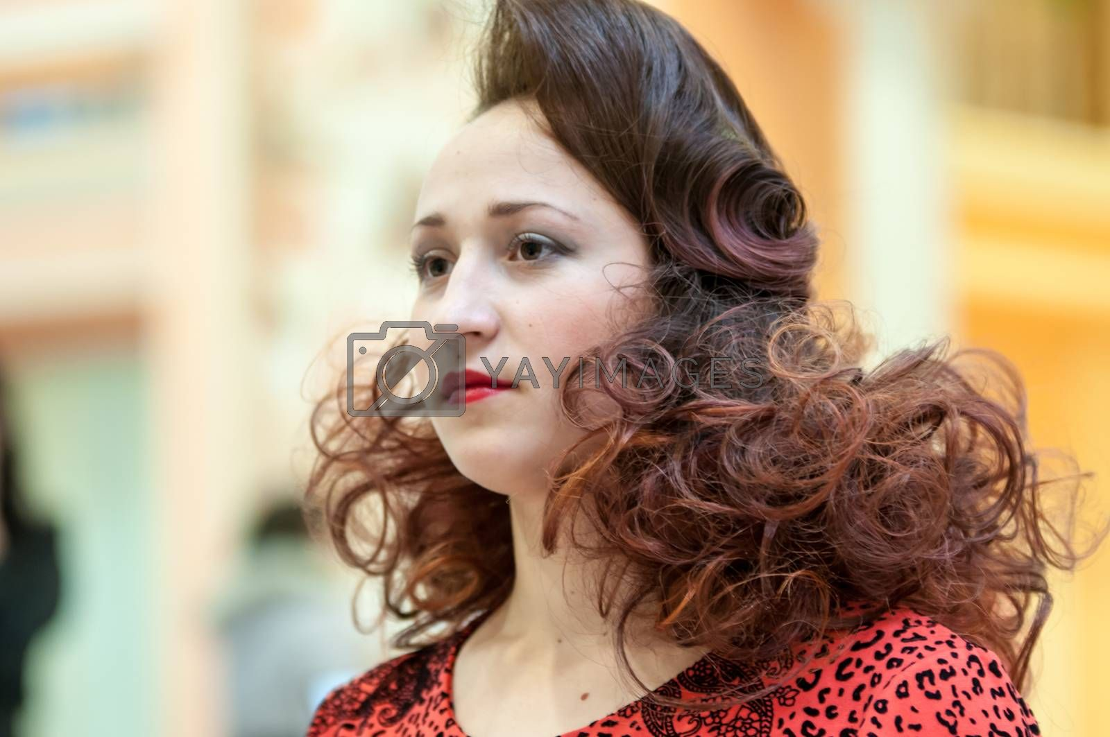 ORENBURG - 6 December: Girl party Hairdressing competition 6 December 2014 in ORENBURG, ORENBURG region, RUSSIA.