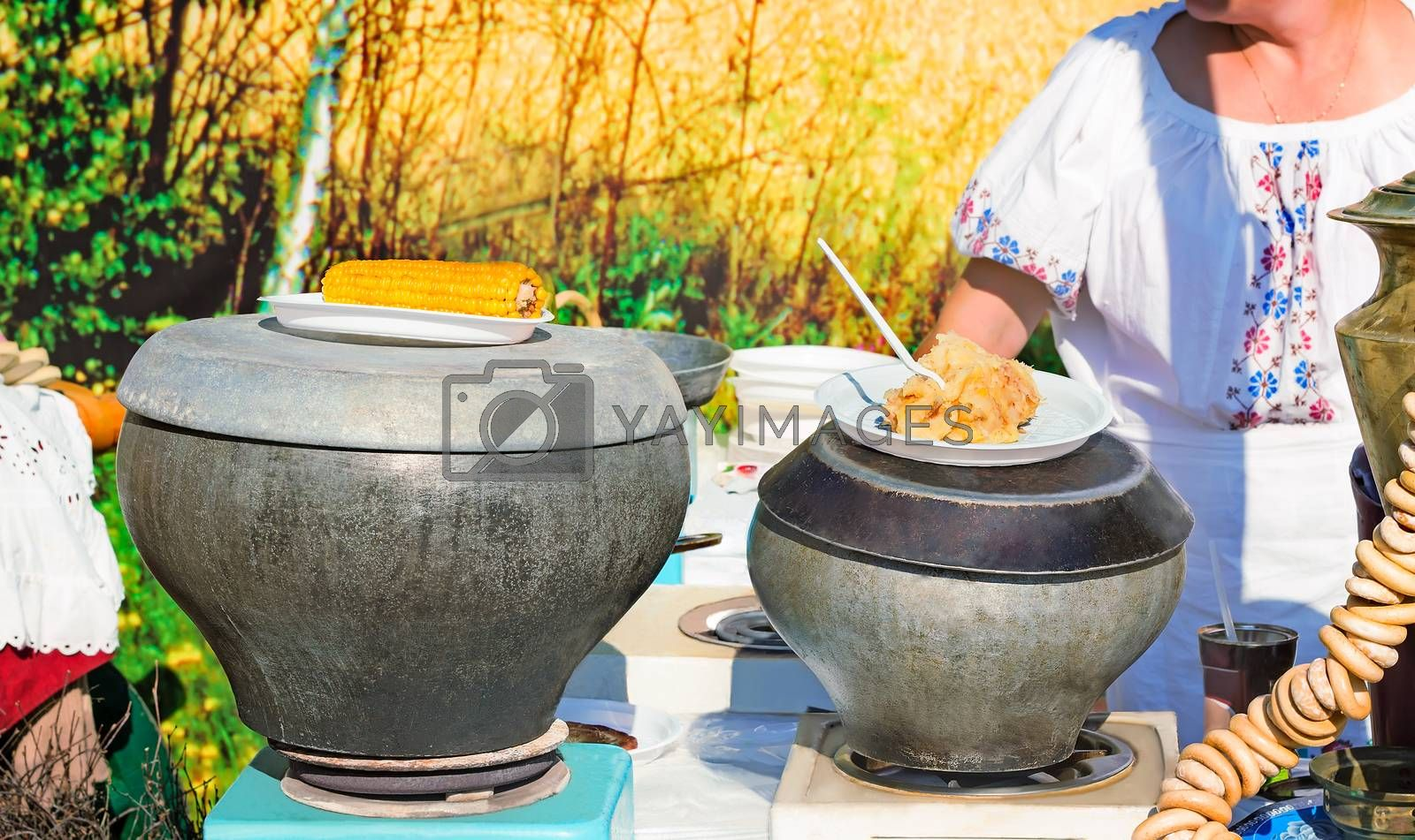 .Traditional Russian dishes on the outdoor celebration. by Galina