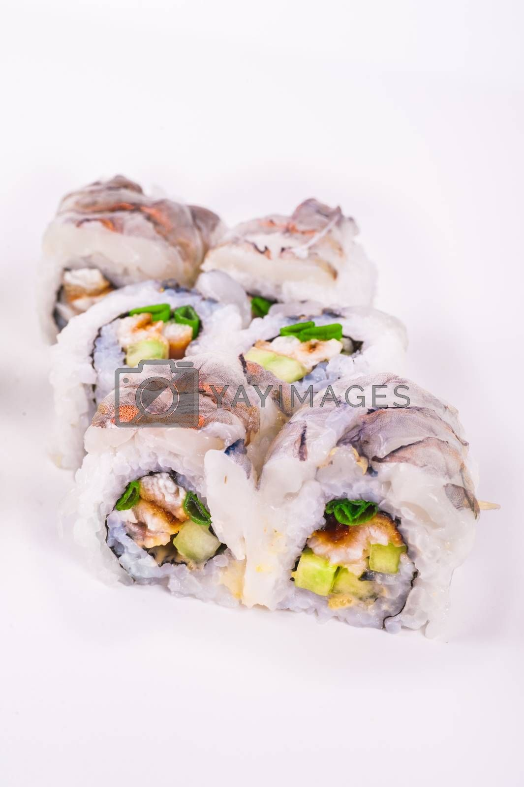 raw prawn sushi roll with eel isolated on white background