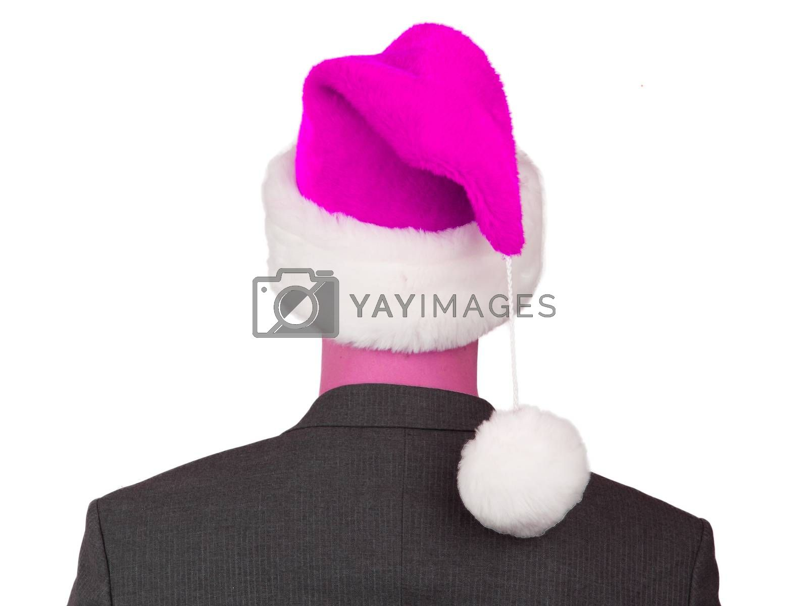 Business man with a santa hat isolated, pink
