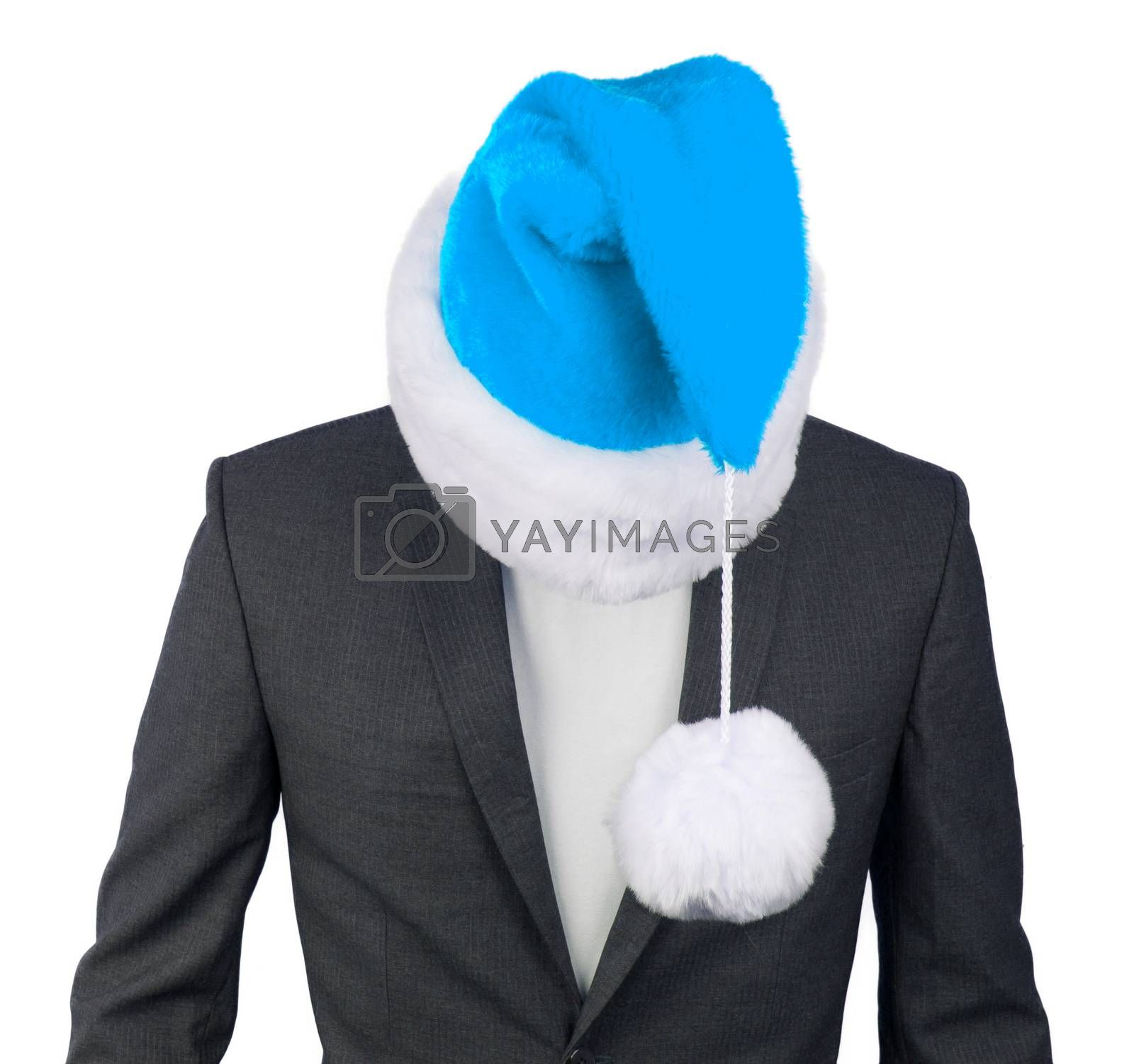 Business man with a santa hat isolated, blue