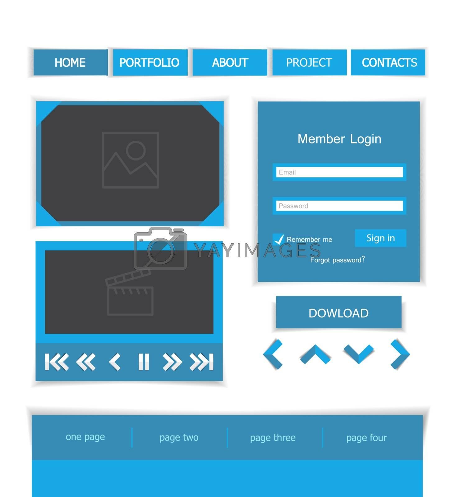Set of web elements, flat vector design