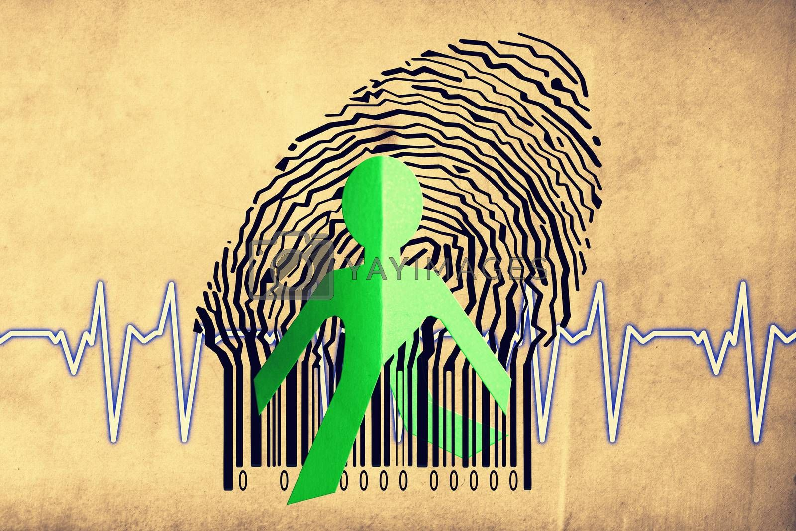 Paperman coming out of a bar code with cardiogram
