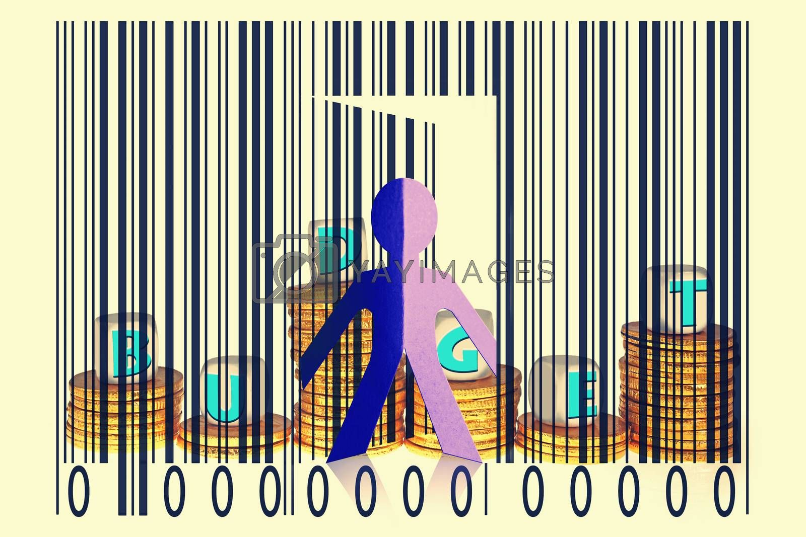 Paperman coming out of a bar code with Budget word