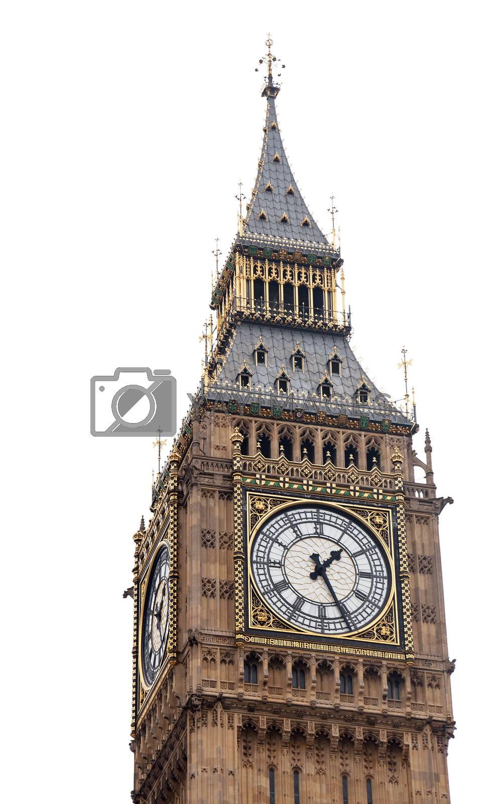 Big Ben in London, UK. Isolated