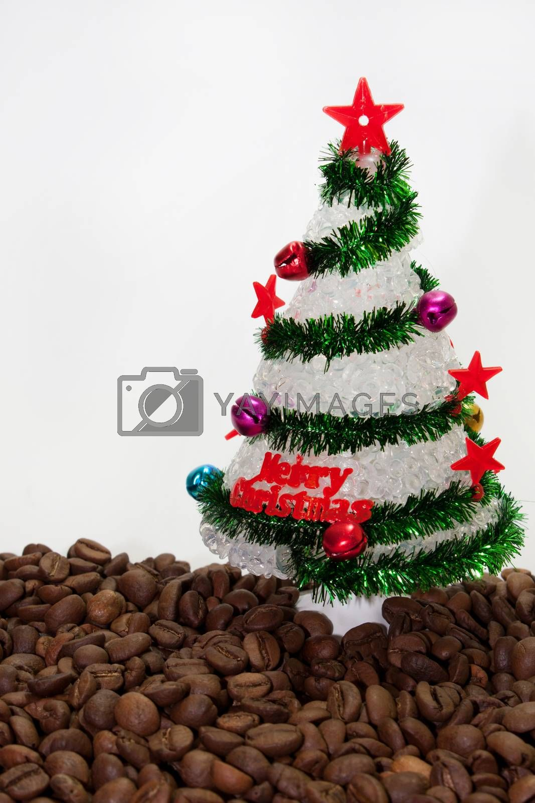 Christmas tree on the coffee beans.