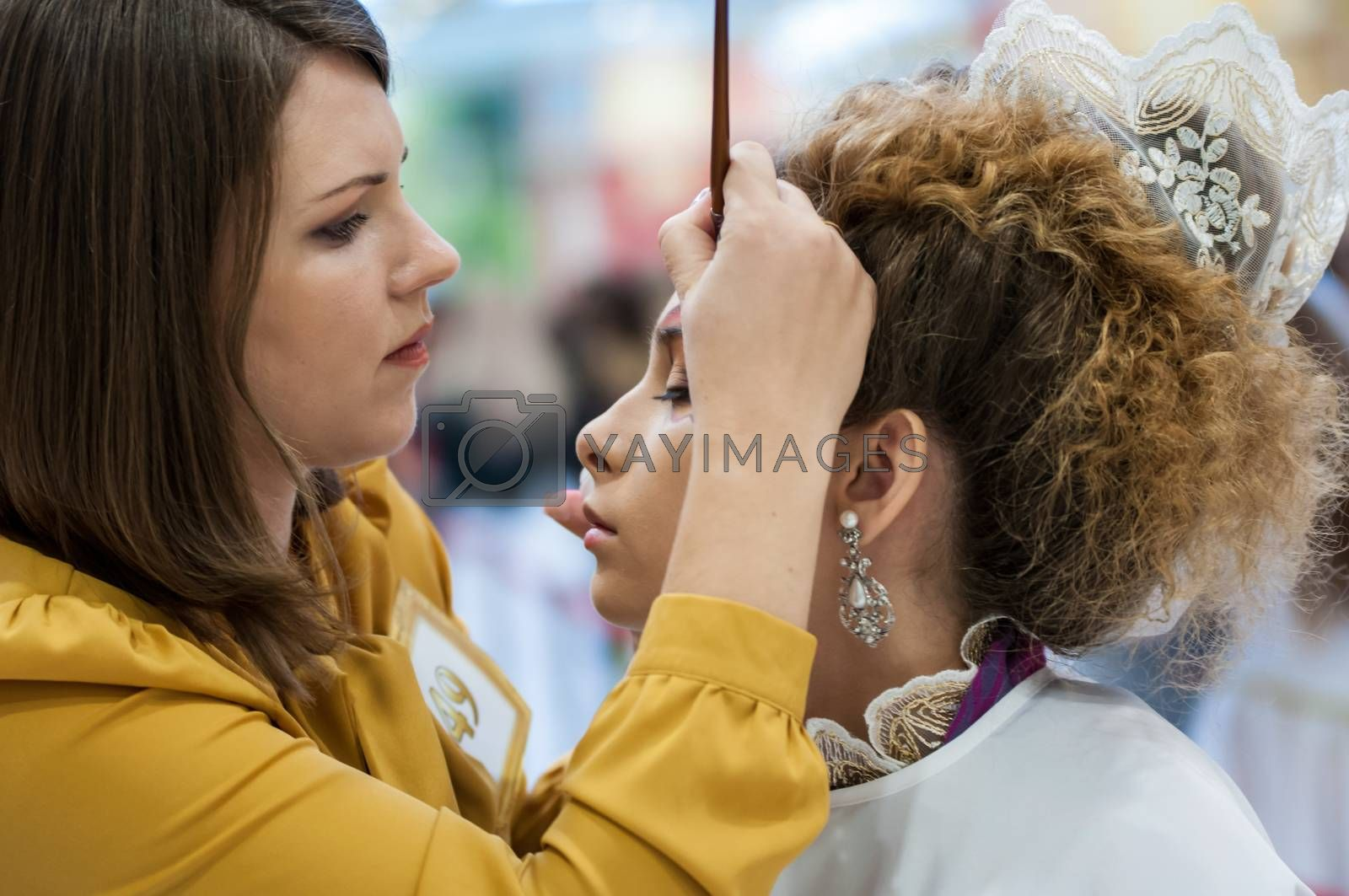 ORENBURG - 6 December: Female participants pageant makeup artists 6 December 2014 in ORENBURG, ORENBURG region, RUSSIA.