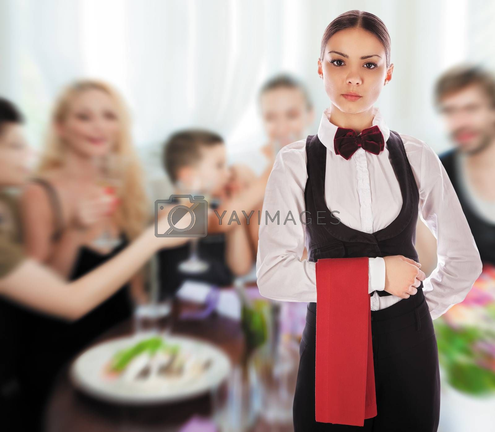 Waitress with a red cloth and tie in restaurant. Isolated with work path.