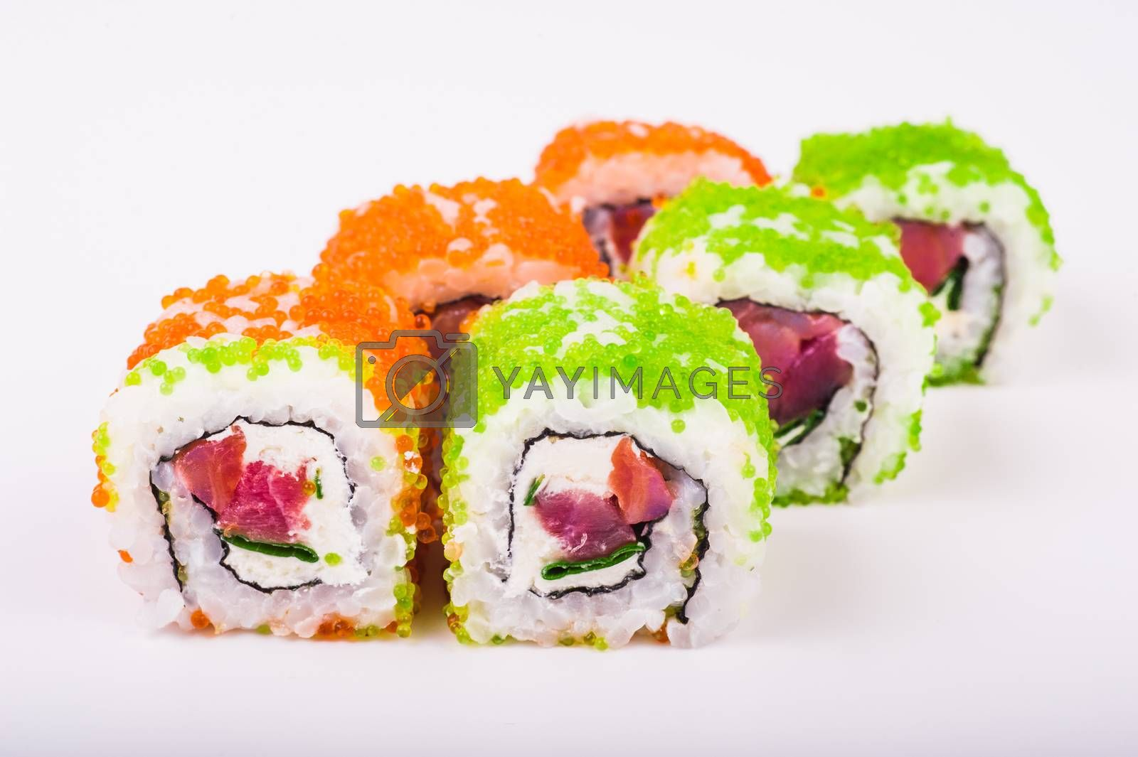 philadelphia tuna roll set isolated on white background