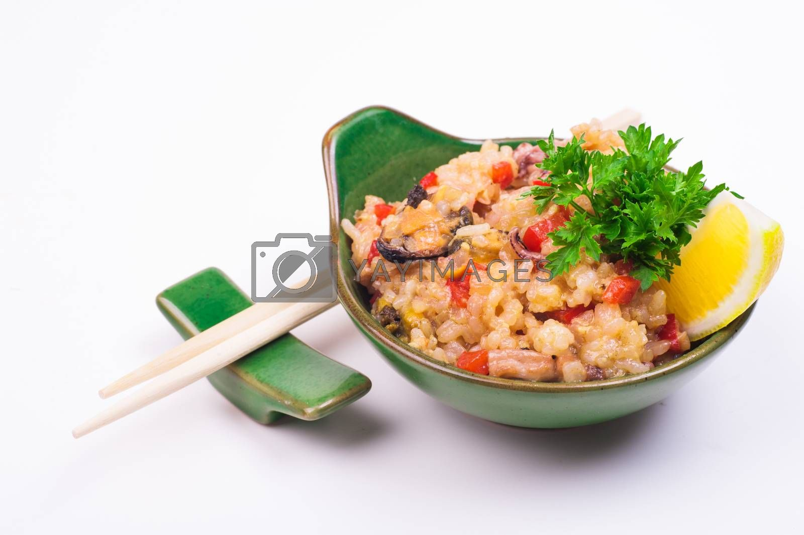 mussels fried rice in bowl isolated on white background