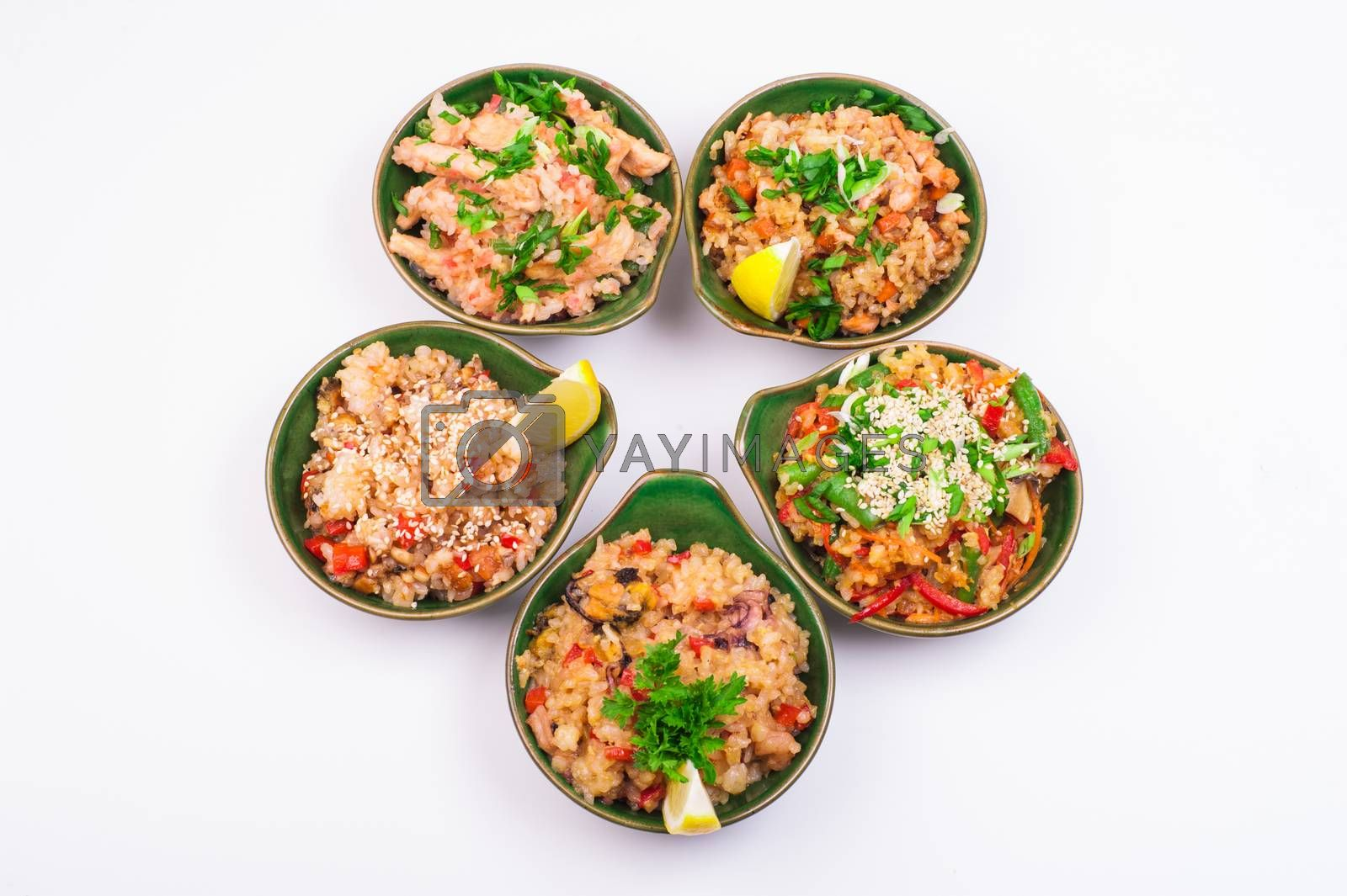 set of five fried rice in bowl isolated on white background