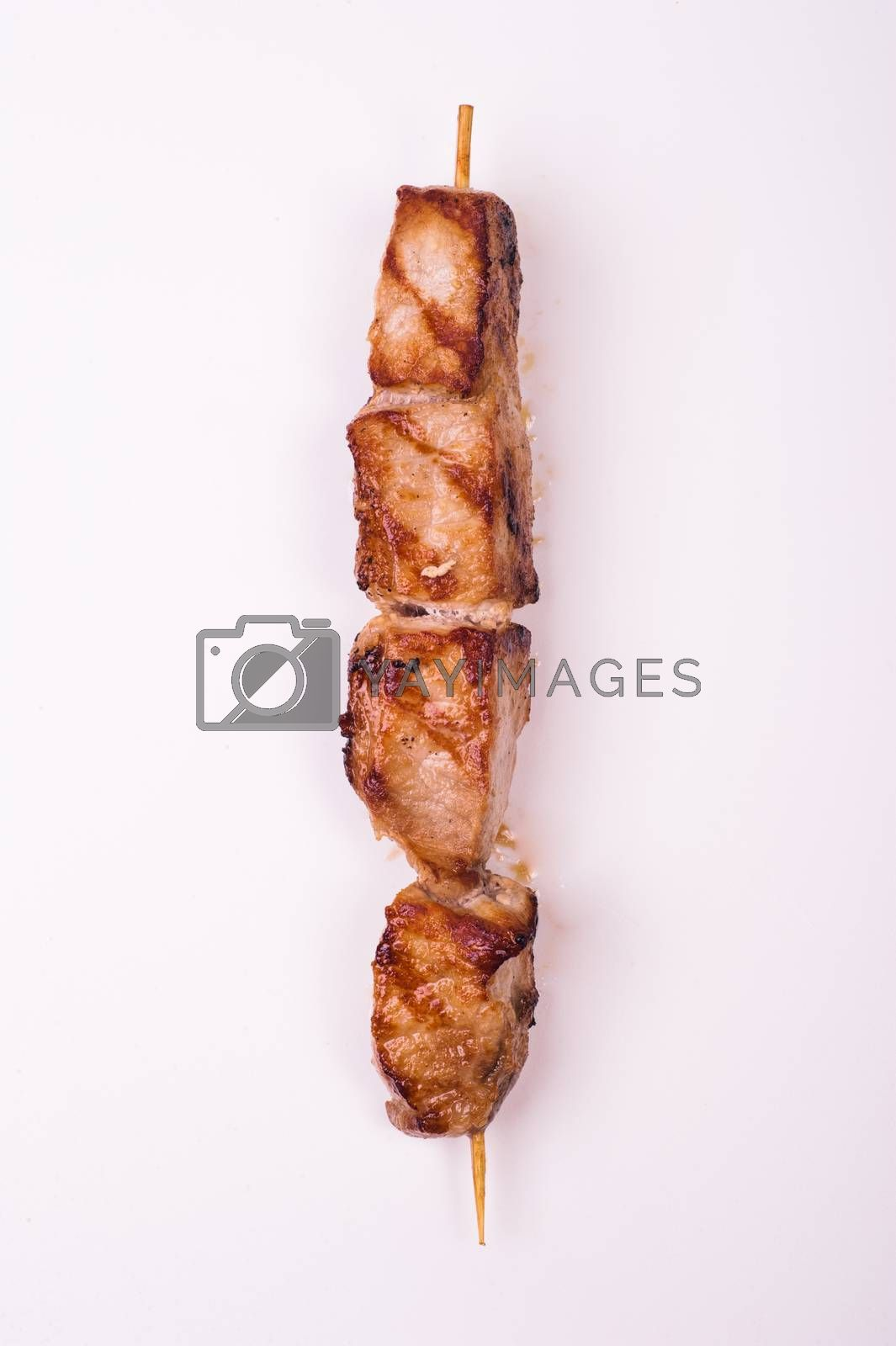 fried pork skewer isolated on white background