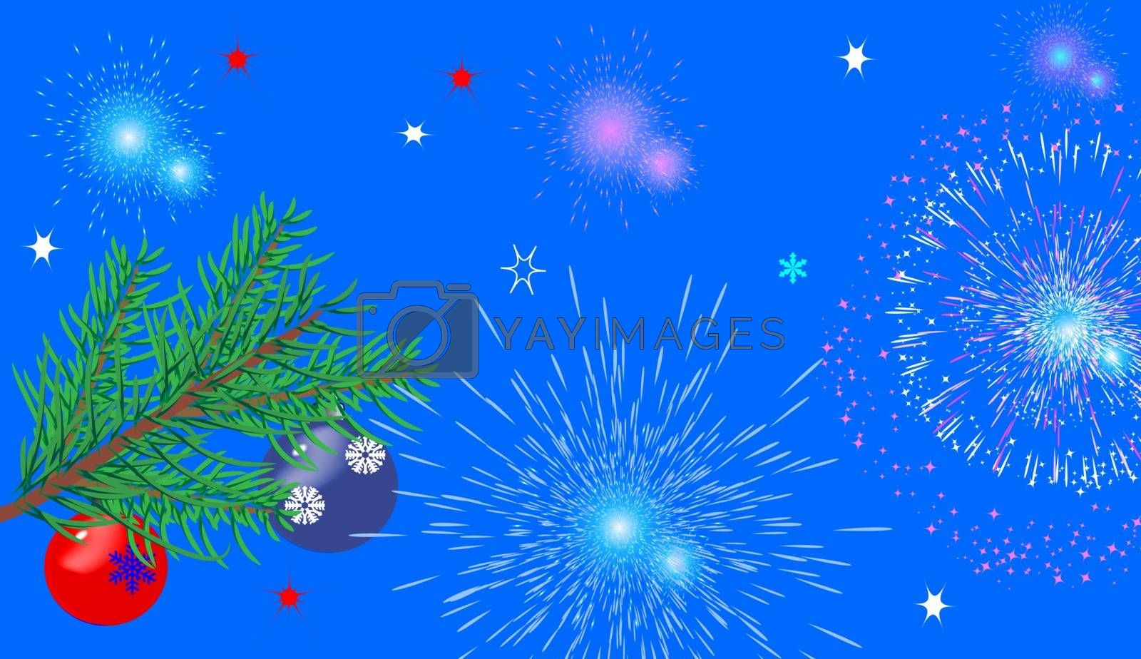 Christmas background with fir branches, toys and fireworks