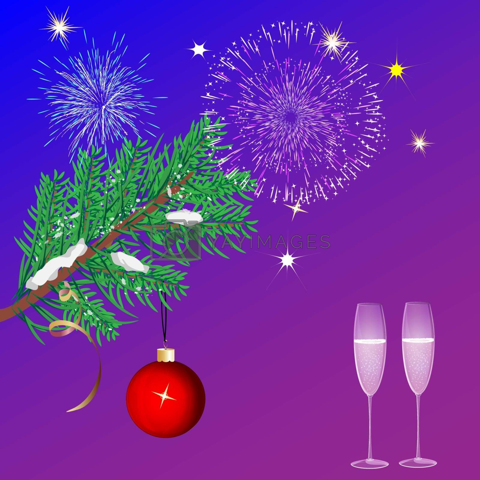 Christmas blue background with glasses, fireworks and a Christmas tree