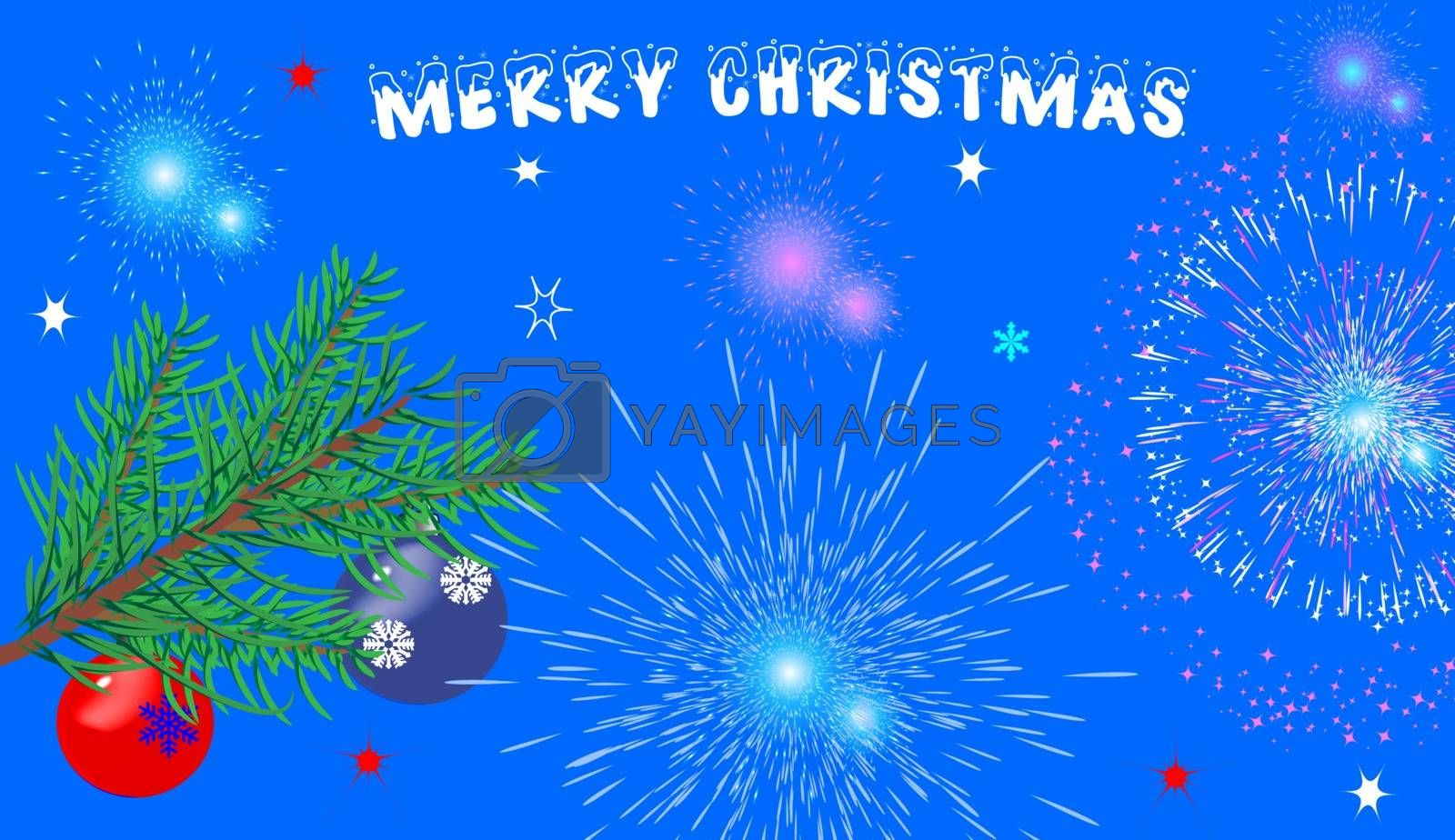 Christmas blue background with glasses, fireworks and a Christmas tree. With the greeting text