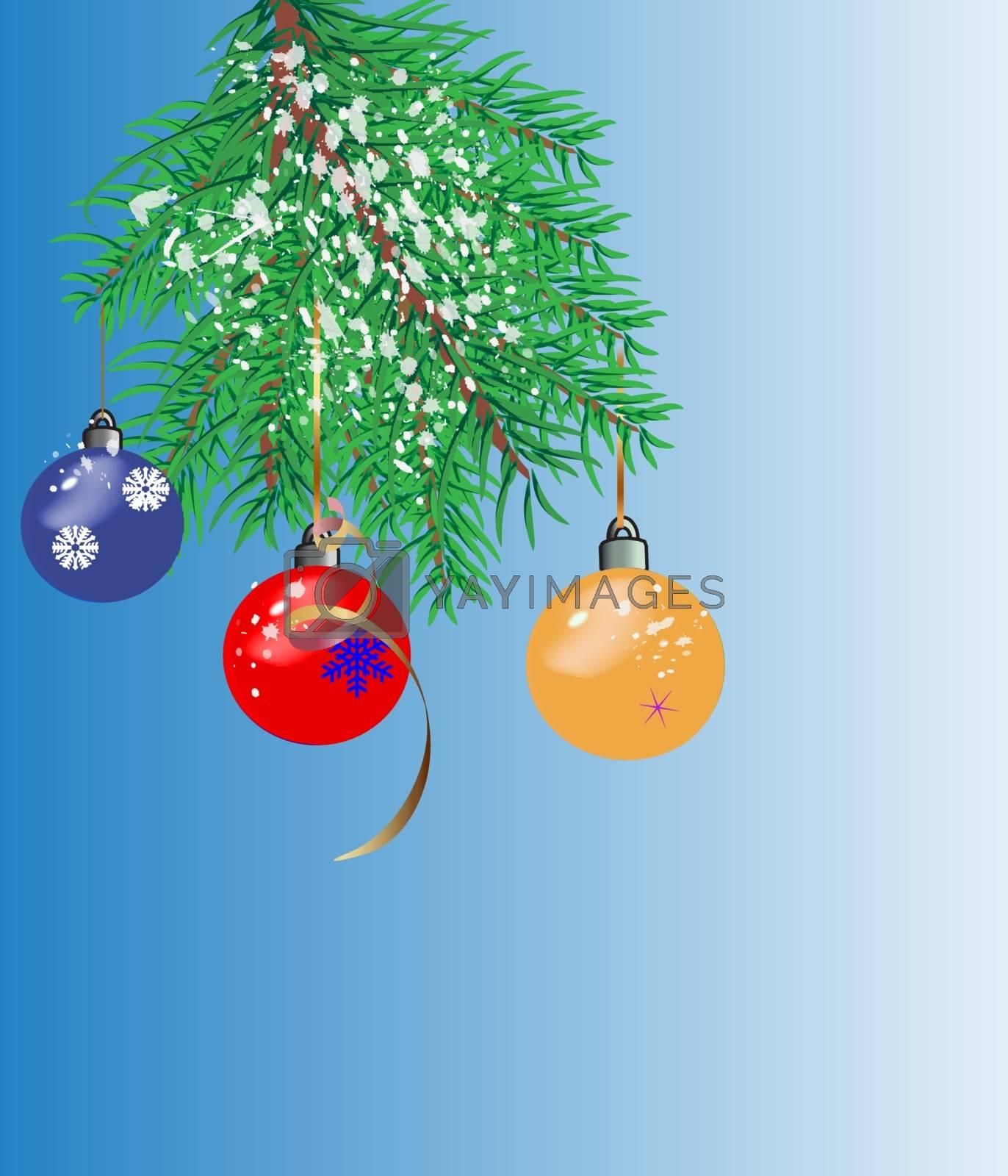 postcard Christmas fir-branch and multi-colored Christmas toys