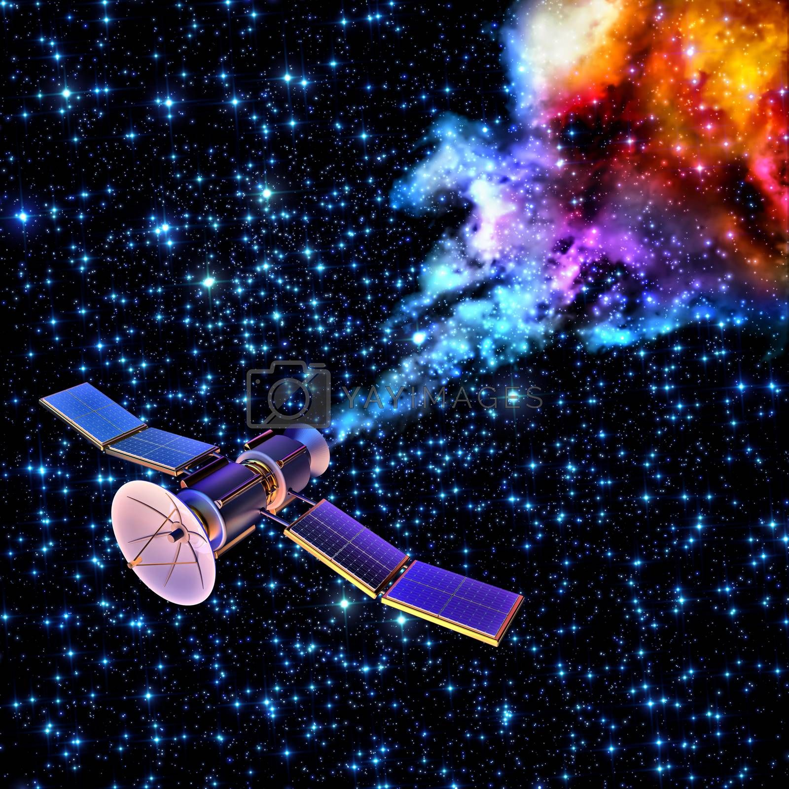 3D model of an artificial satellite of the Earth, equipped solar panels and parabolic satellite communications antenna, has burned up and fragmented when re-entered to the Earth's atmosphere