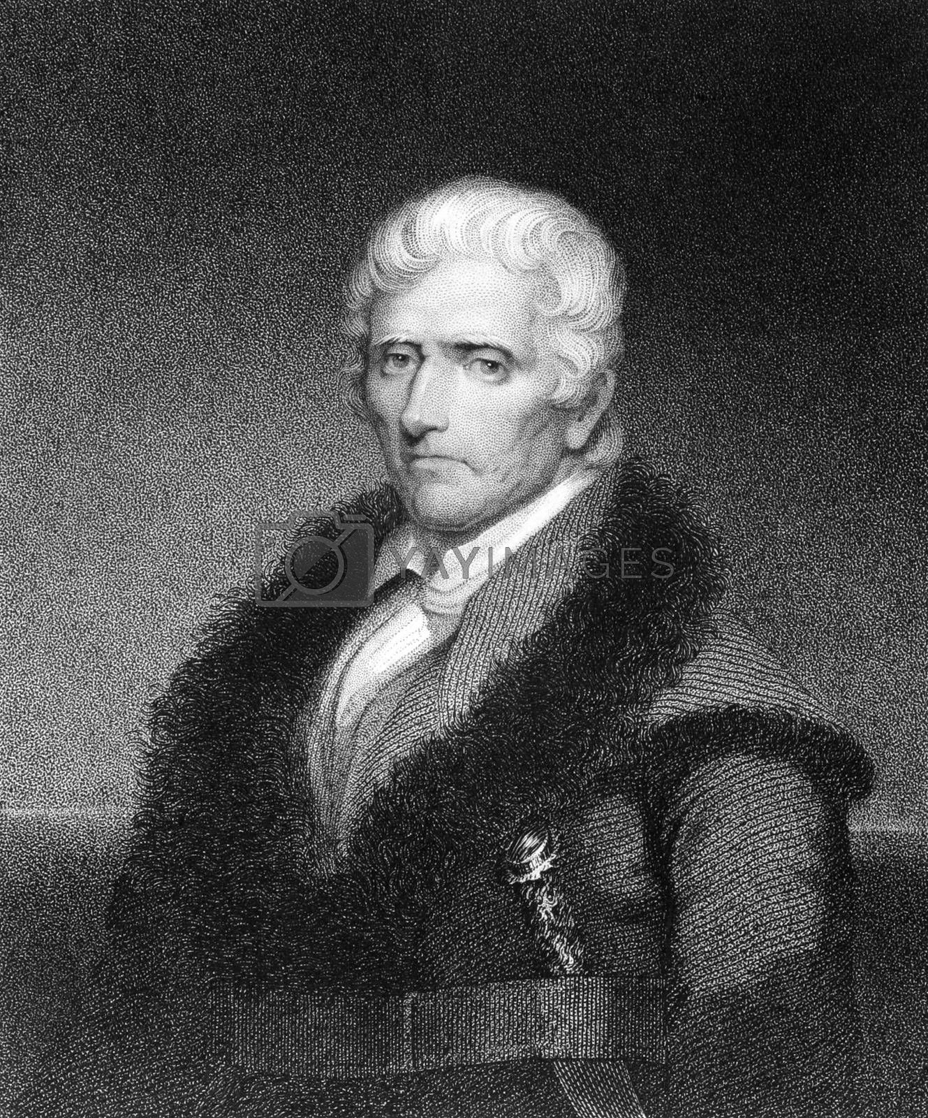 Daniel Boone (1734-1820) on engraving from 1835. American pioneer, explorer, and frontiersman. Engraved by J.B.Longacre and published in''National Portrait Gallery of Distinguished Americans Volume II'',USA,1835.